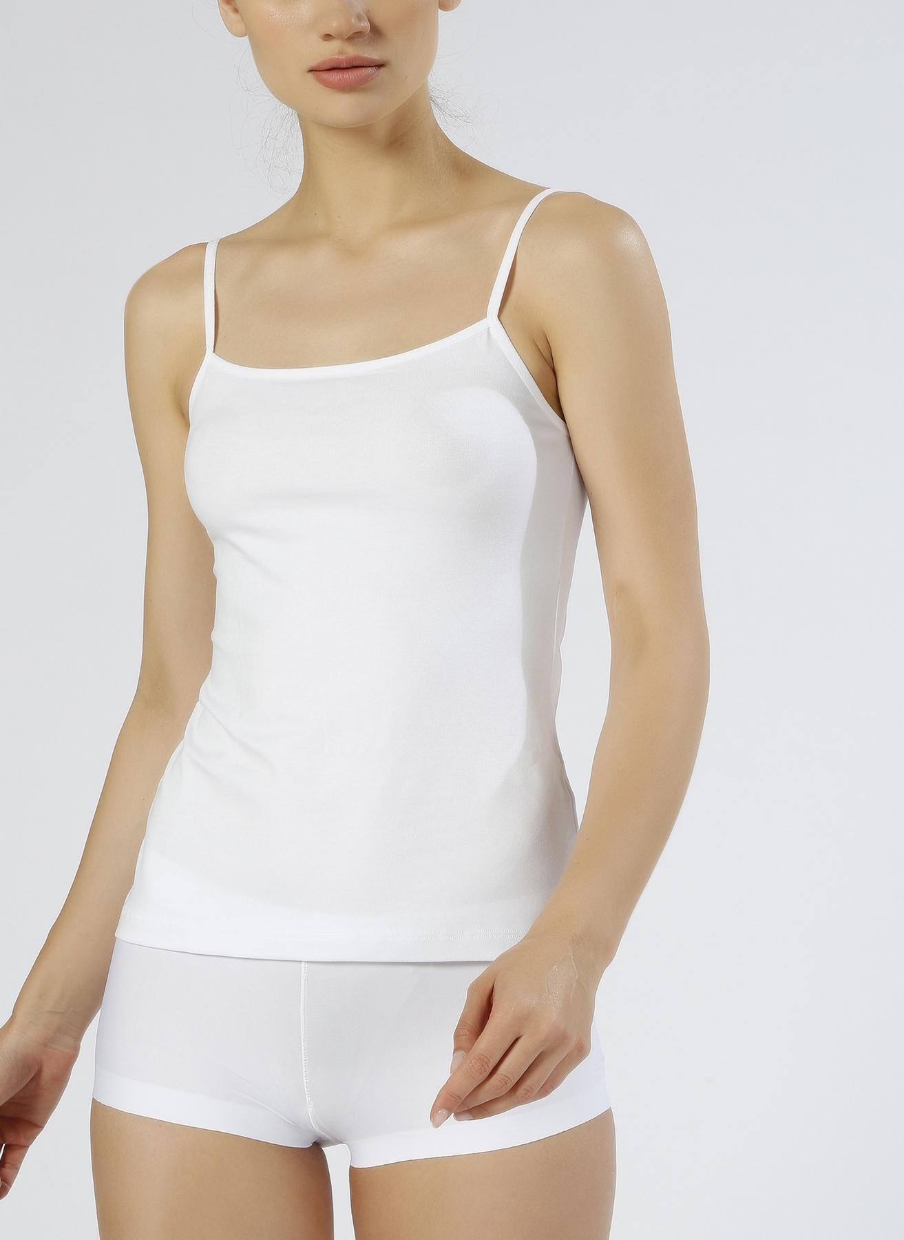 L Renksiz Magic Form Penye İp Askılı Beyaz İç Giyim Atlet 5000001982001 Kadın