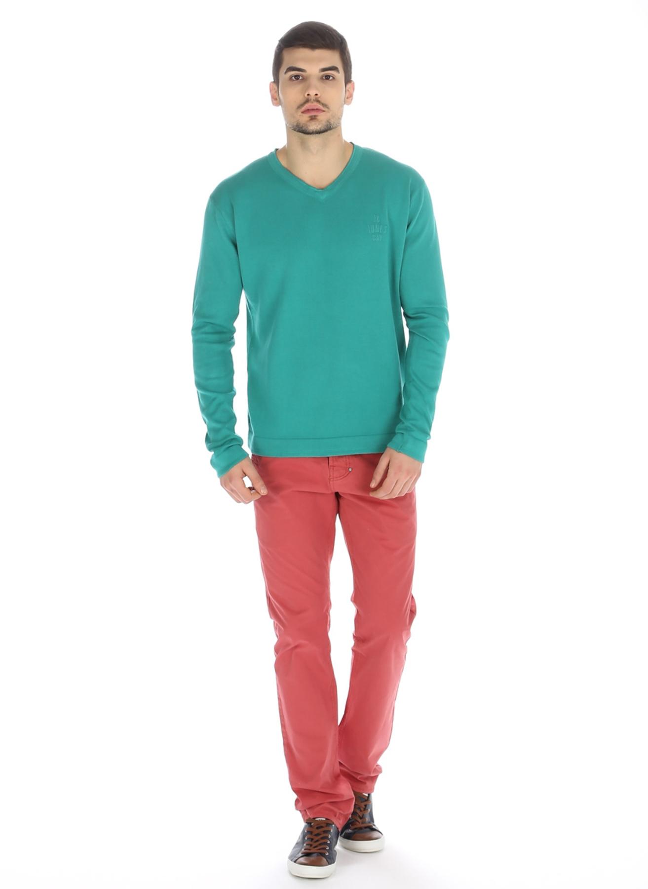 L Yeşil Jack & Jones Kazak 5000031543001 Erkek Giyim Hırka