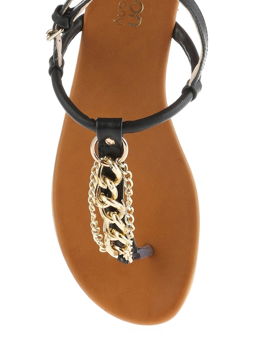 Limon Zincir Detaylı Parmak Arası Sandalet Kadın 36 5000068321005