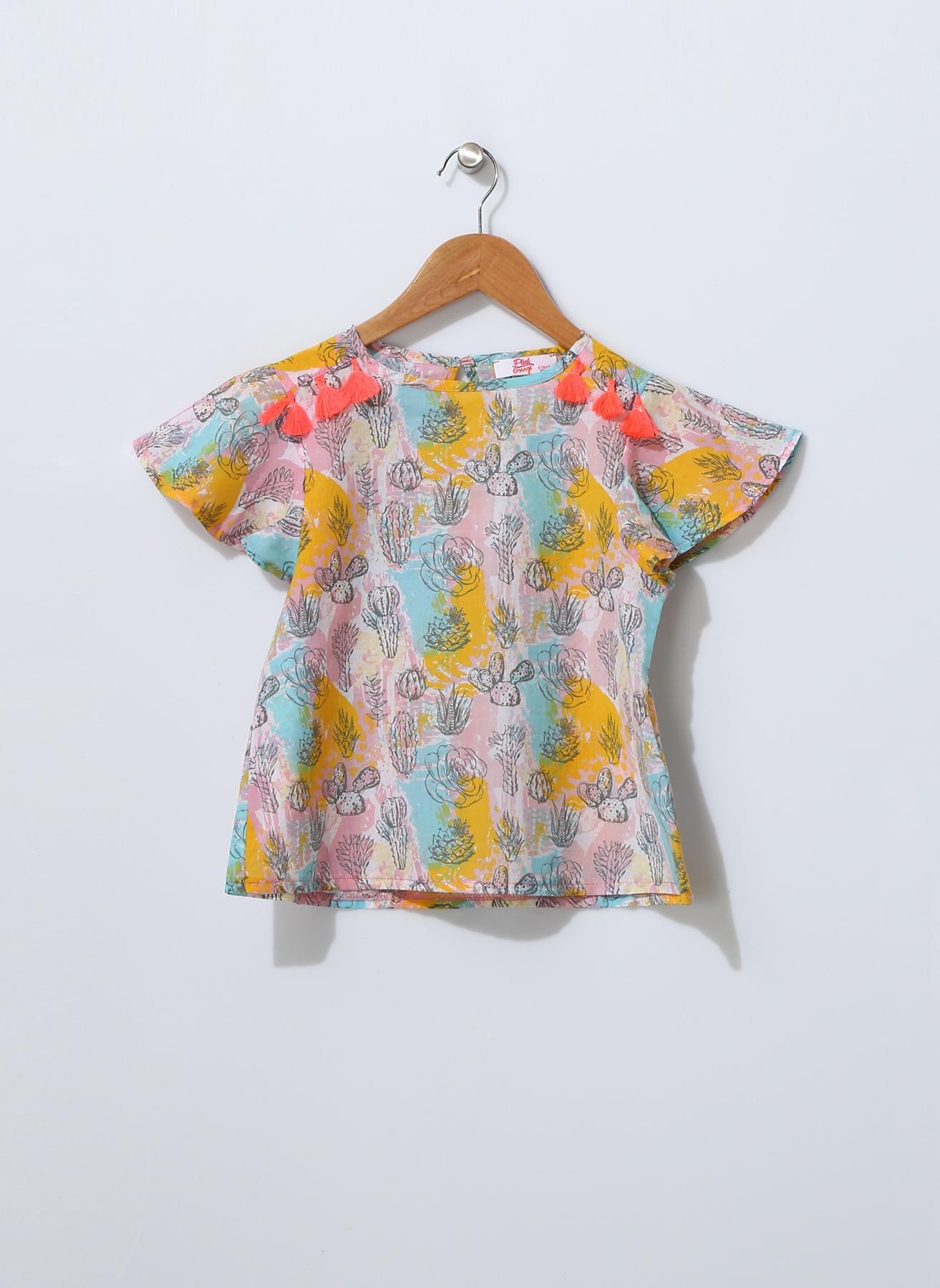 Pink&Orange Çocuk Püskül Detaylı Pembe Bluz Kadın 9-10 Yaş 5000189296004