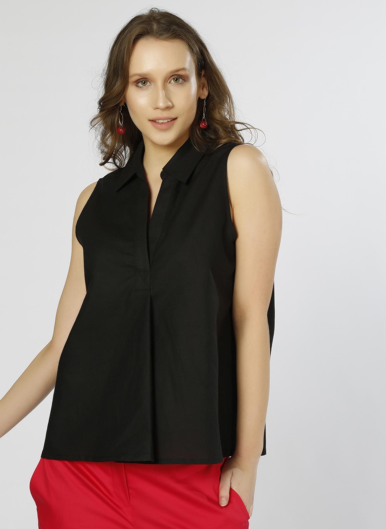 Beymen Studio V Yaka Keten Siyah Bluz 36 5000194840001 Ürün Resmi