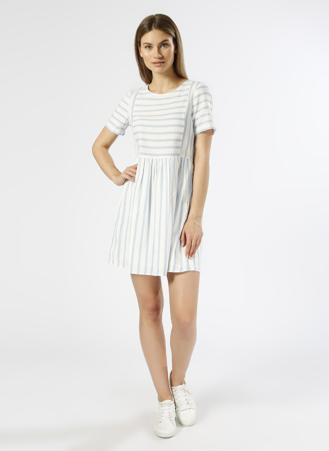 Vero Moda Keten Çizgili Mavi - Beyaz Elbise M 5000196053002 Ürün Resmi