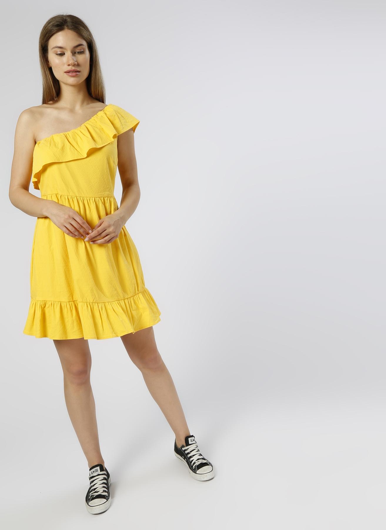 Vero Moda Tek Omuzlu Sarı Elbise S 5000196058003 Ürün Resmi