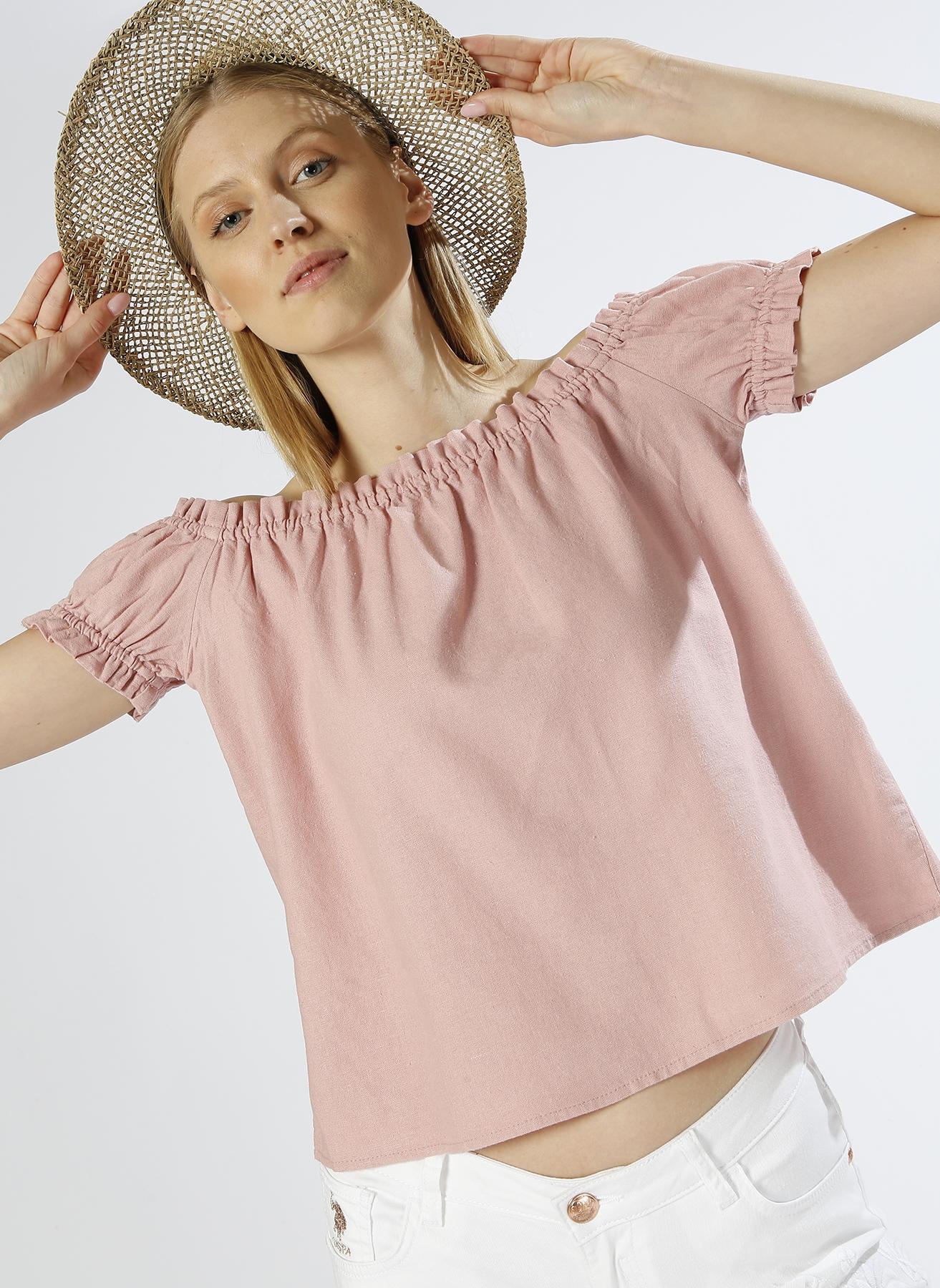 Vero Moda Kayık Yaka Keten Pembe Bluz M 5000196070002 Ürün Resmi
