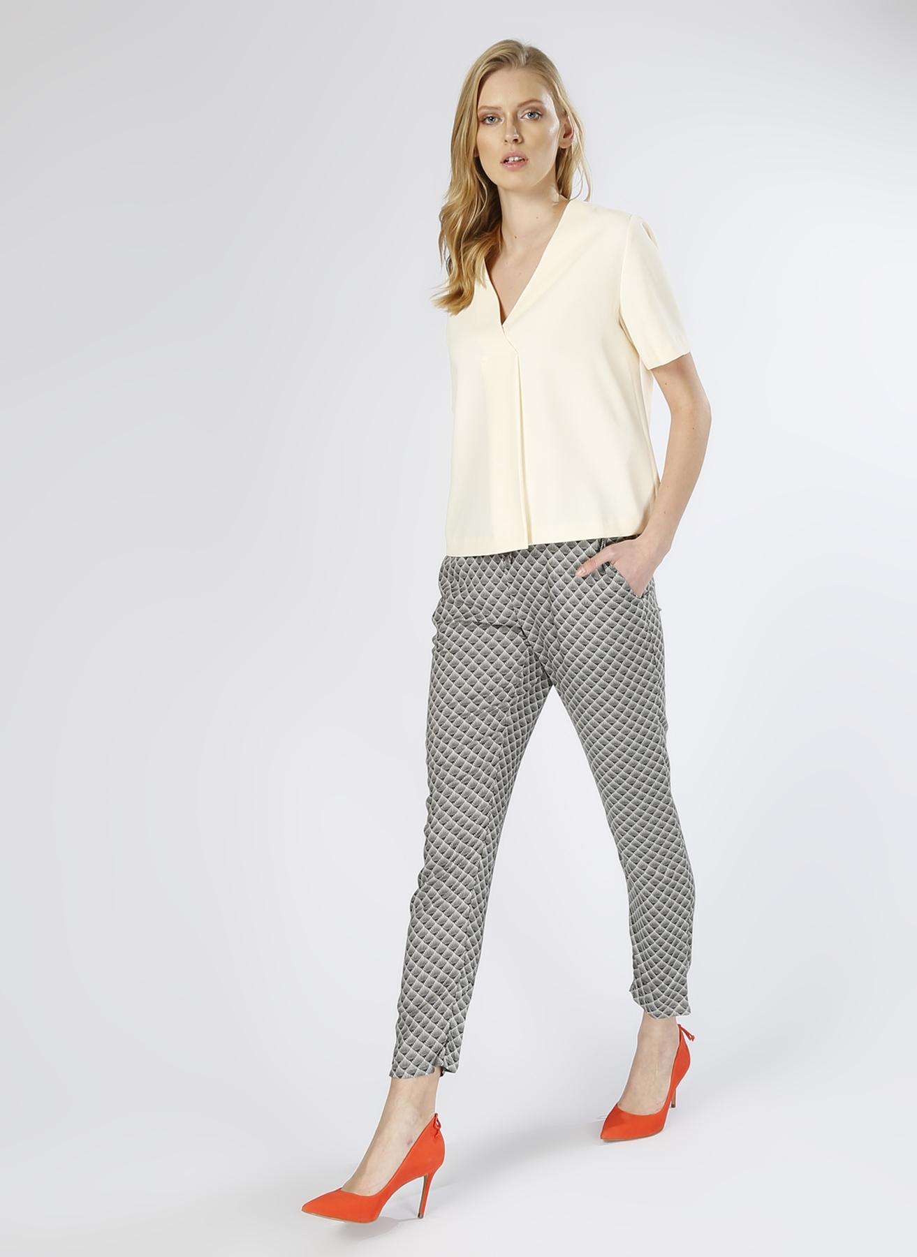 Vero Moda Desenli Siyah -Beyaz Pantolon XS 5000196072005 Ürün Resmi
