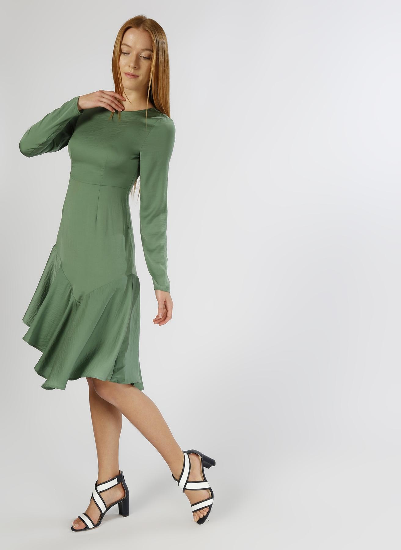 Vero Moda Asimetrik Yeşil Elbise L 5000196081001 Ürün Resmi