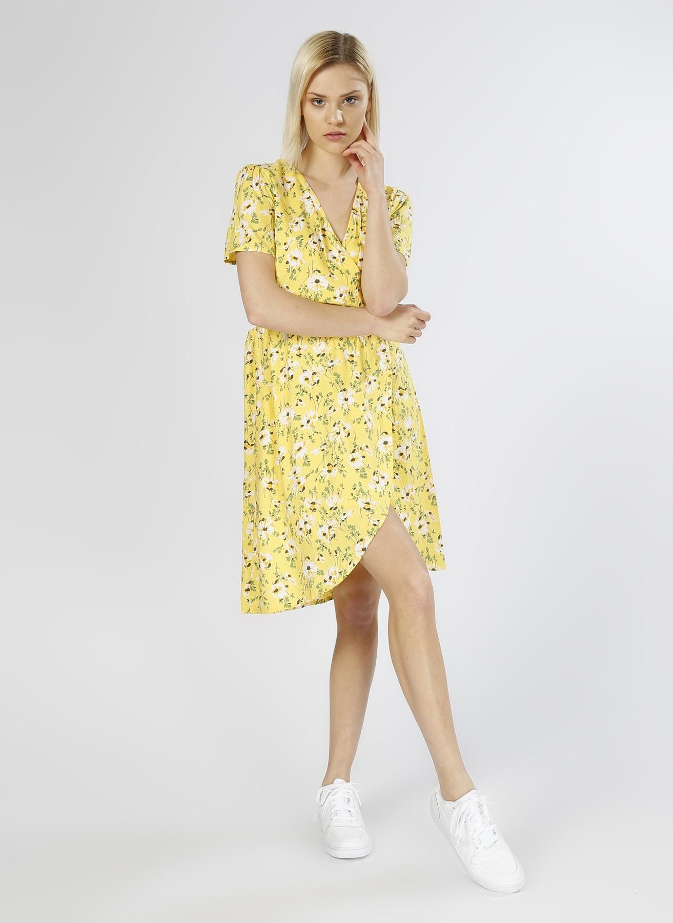 Vero Moda Desenli Kruvaze Sarı Elbise XS 5000196102005 Ürün Resmi