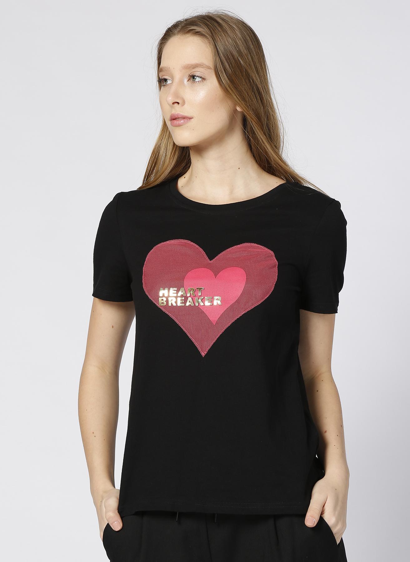 Vero Moda Siyah Kalp Baskılı T-Shırt XS 5000196104005 Ürün Resmi