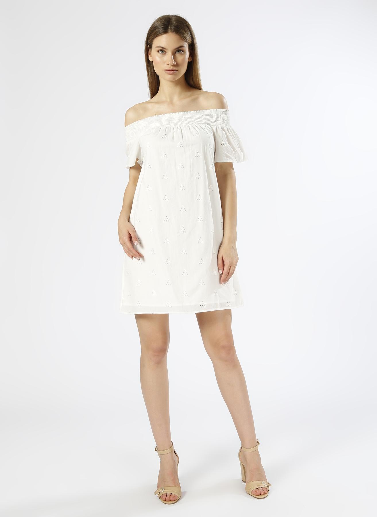 Vero Moda Kayık Yaka Beyaz Elbise M 5000196107002 Ürün Resmi