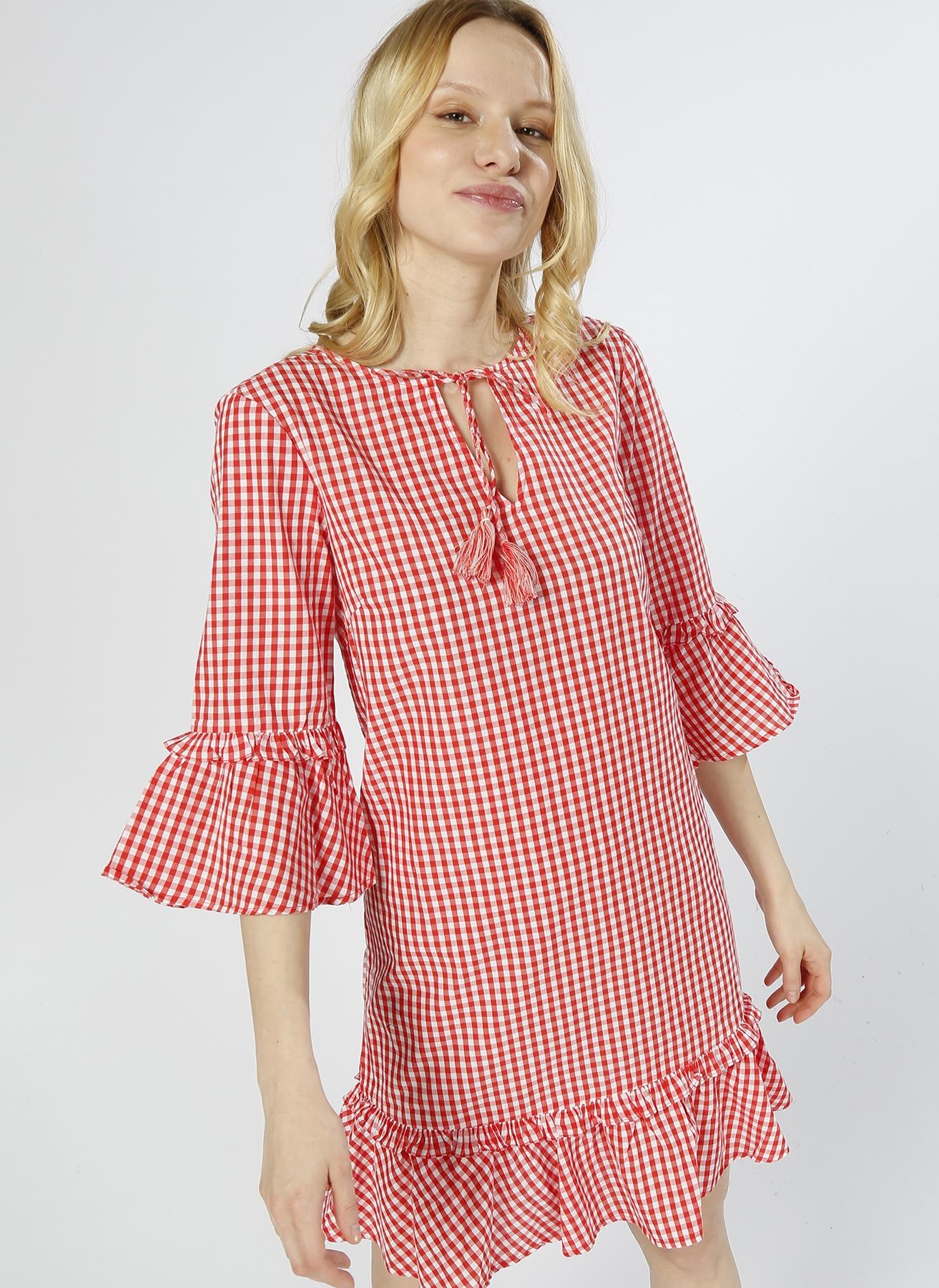 Vero Moda Kareli Kırmızı - Beyaz Elbise S 5000196109003 Ürün Resmi