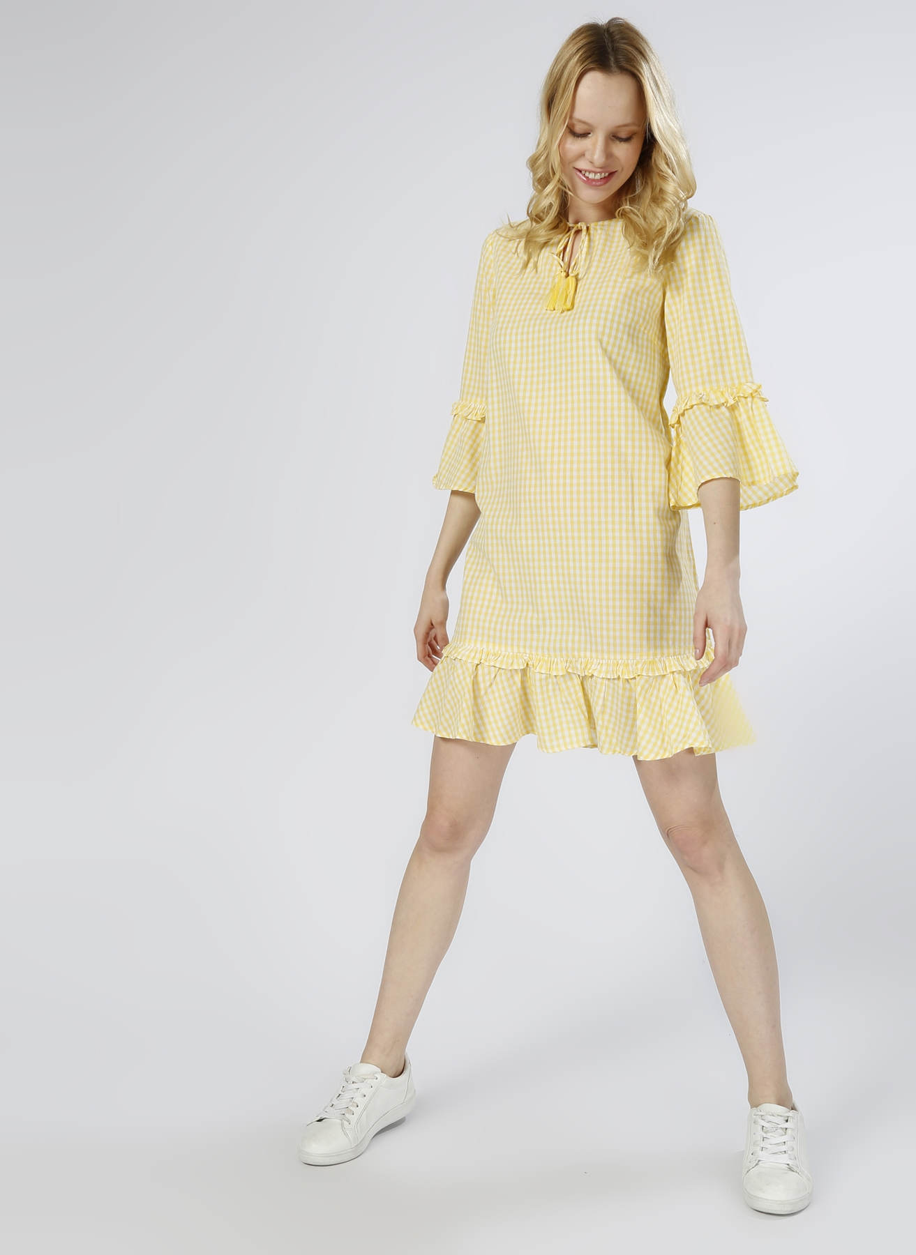 Vero Moda Kareli Sarı - Beyaz Elbise XS 5000196110004 Ürün Resmi