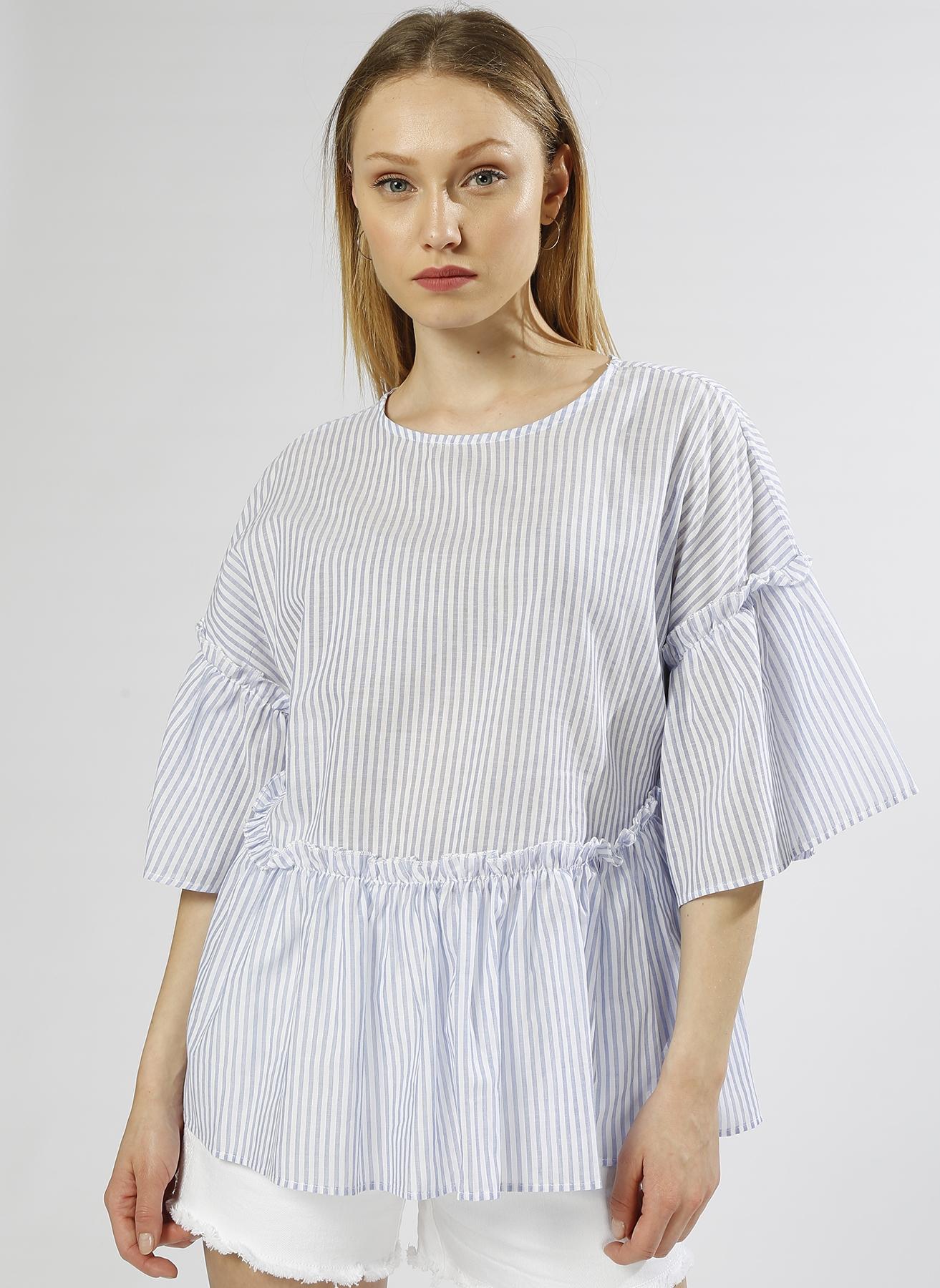 Koton Fırfırlı Çizgili Mavi-Beyaz Bluz 40 5000198366004 Ürün Resmi
