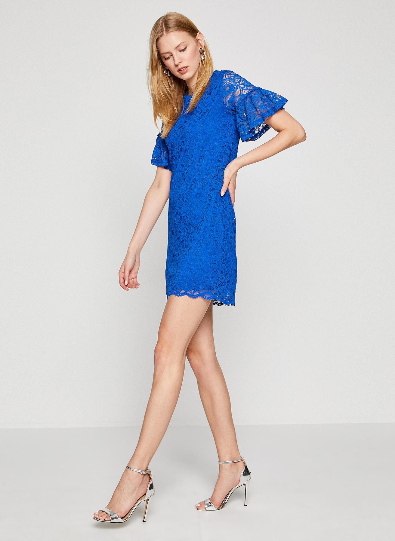 Koton Dantelli Saks Mavisi Elbise XL 5000198420004 Ürün Resmi
