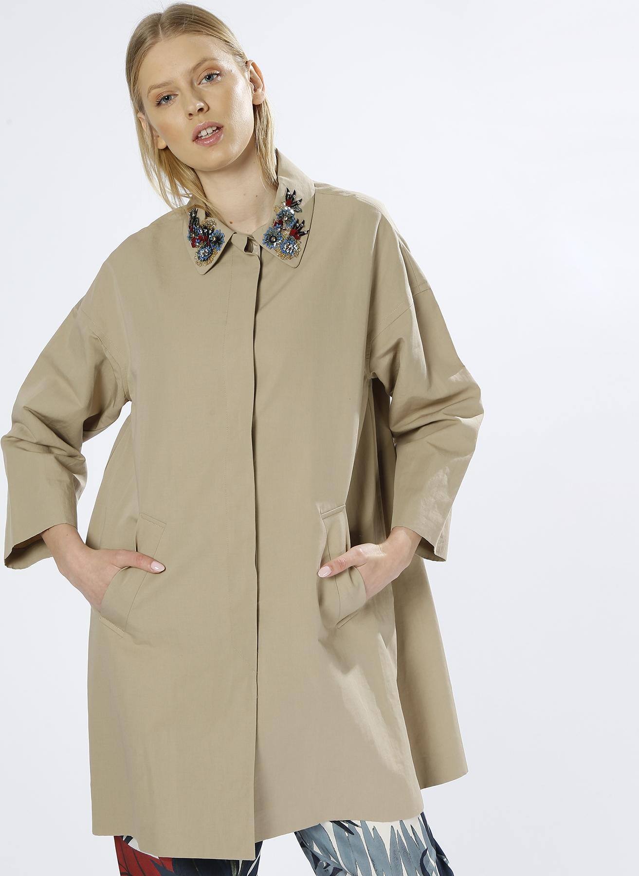 85c0db4cfcb95 S Bej Beymen Club Yaka Detaylı Kaban 5000202389001 Kadın Dış Giyim