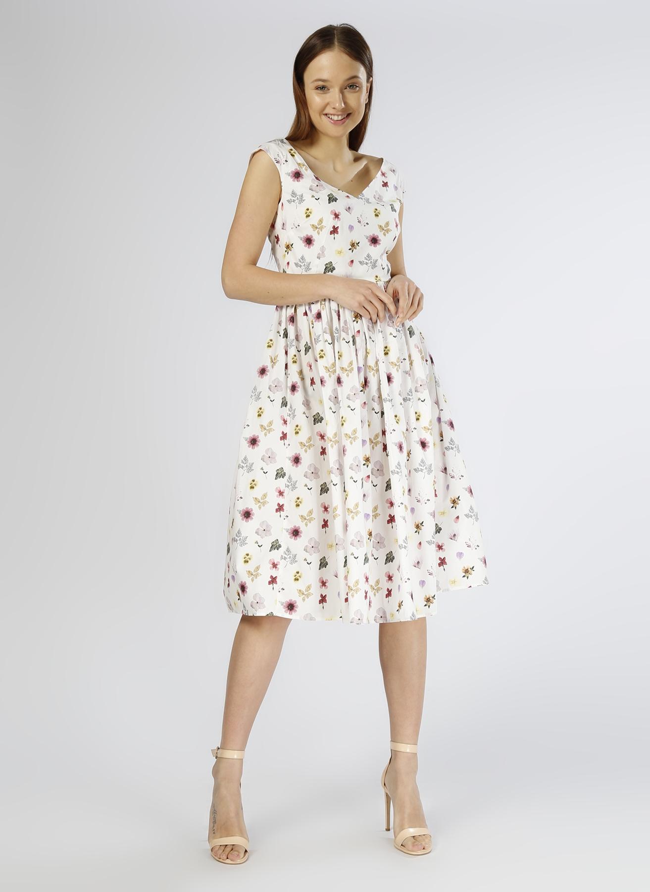 Beymen Club Çiçek Desenli Bej Elbise 36 5000202477001 Ürün Resmi