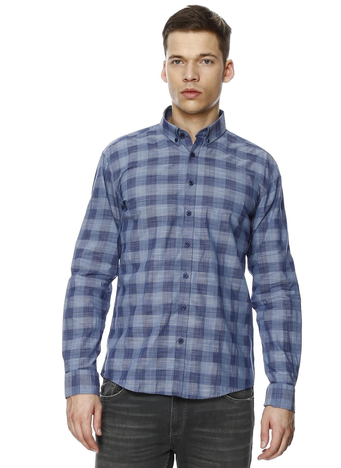 George Hogg Mavi Modern Fit Kareli Gömlek 42 5000205498004 Ürün Resmi