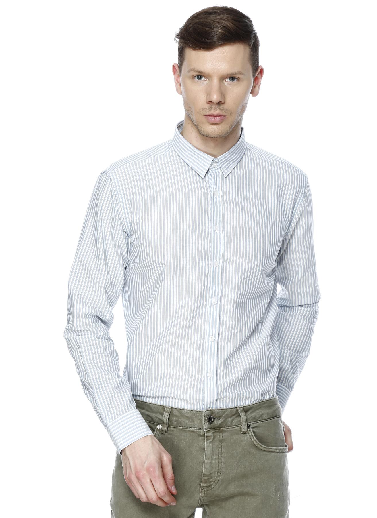 George Hogg Mavi Modern Fit Çizgili Gömlek 43 5000205499005 Ürün Resmi