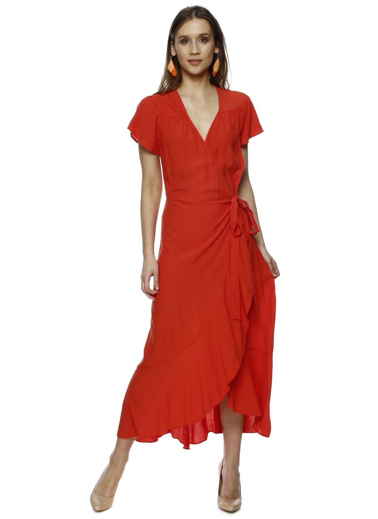Random Kırmızı Kruvaze Yırtmaçlı Elbise 36 5000206221002 Ürün Resmi