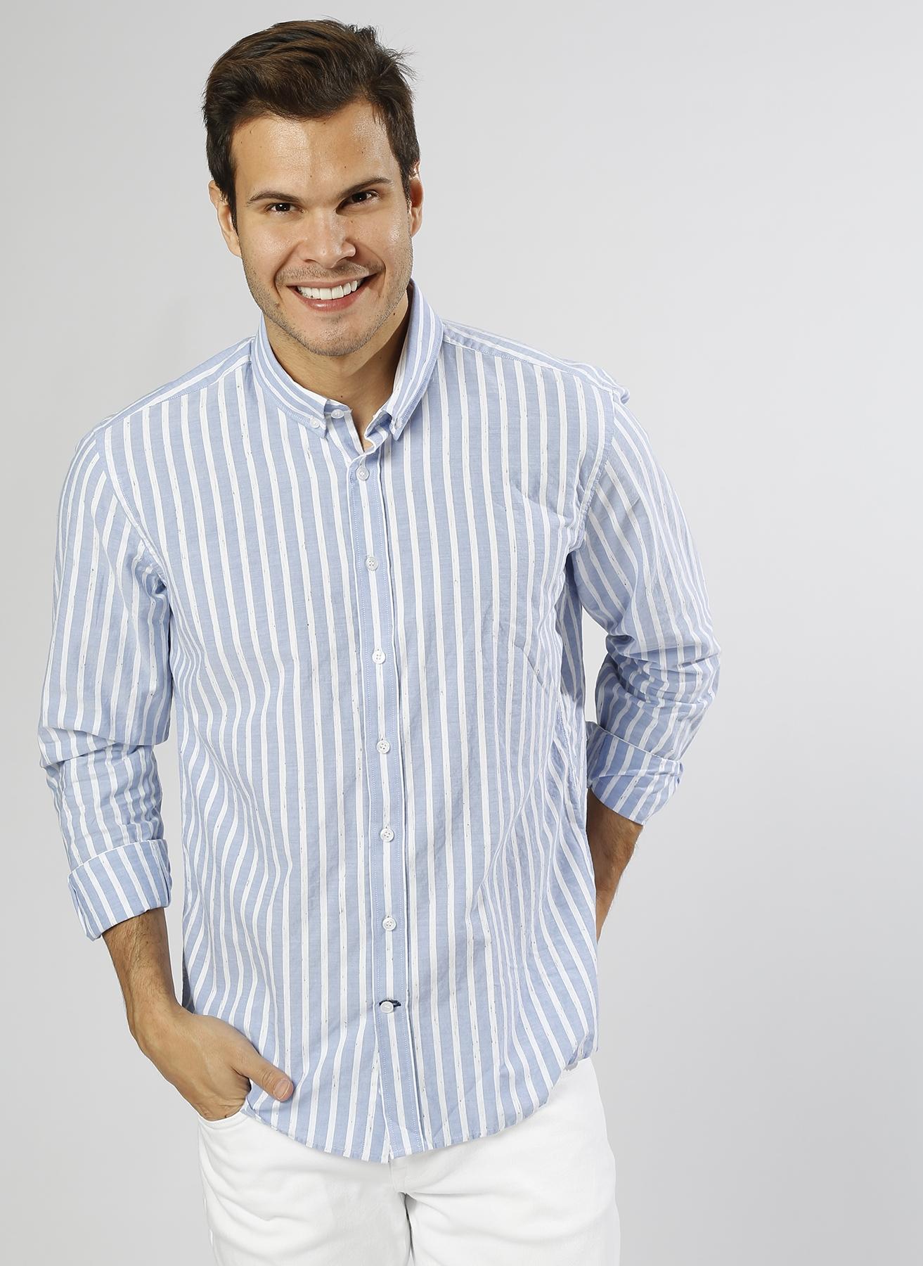 George Hogg Çizgili Mavi-Beyaz Gömlek 39 5000219324001 Ürün Resmi