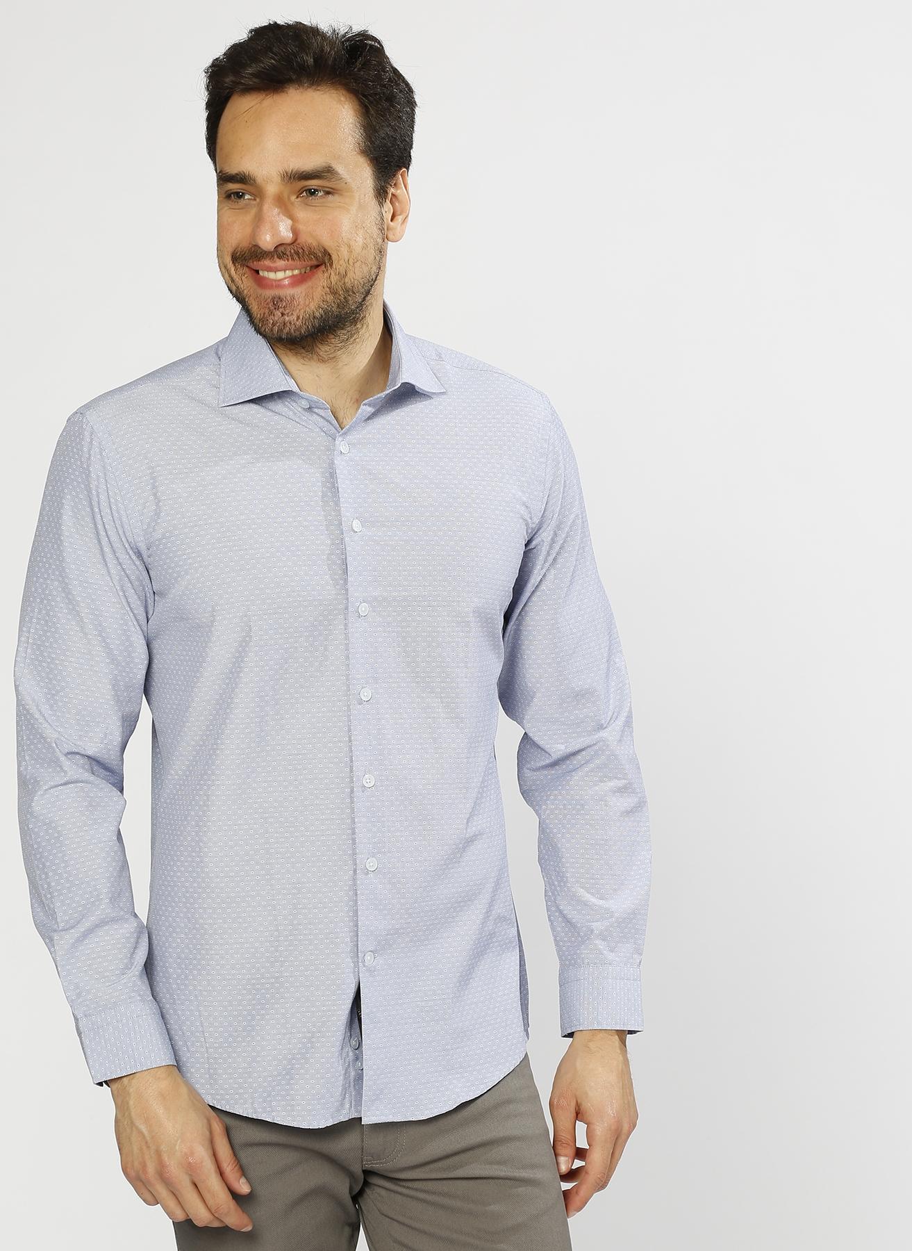 George Hogg Desenli Mavi Gömlek 42 5000220519004 Ürün Resmi