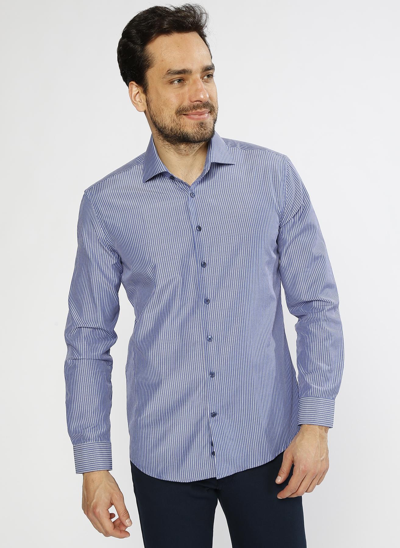 George Hogg Çizgili Mavi - Beyaz Gömlek 39 5000220520001 Ürün Resmi