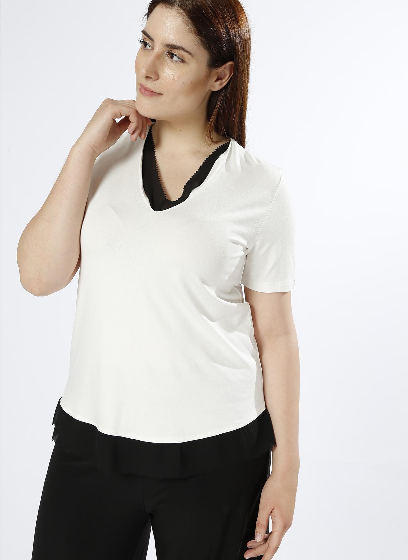 Ekol Tül Detaylı Siyah - Beyaz T-Shirt 3 5000223346001 Ürün Resmi