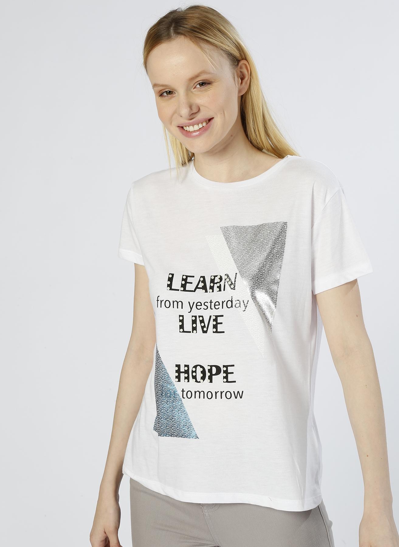 Koton Detaylı Beyaz T-Shirt 2XL 5000225270005 Ürün Resmi