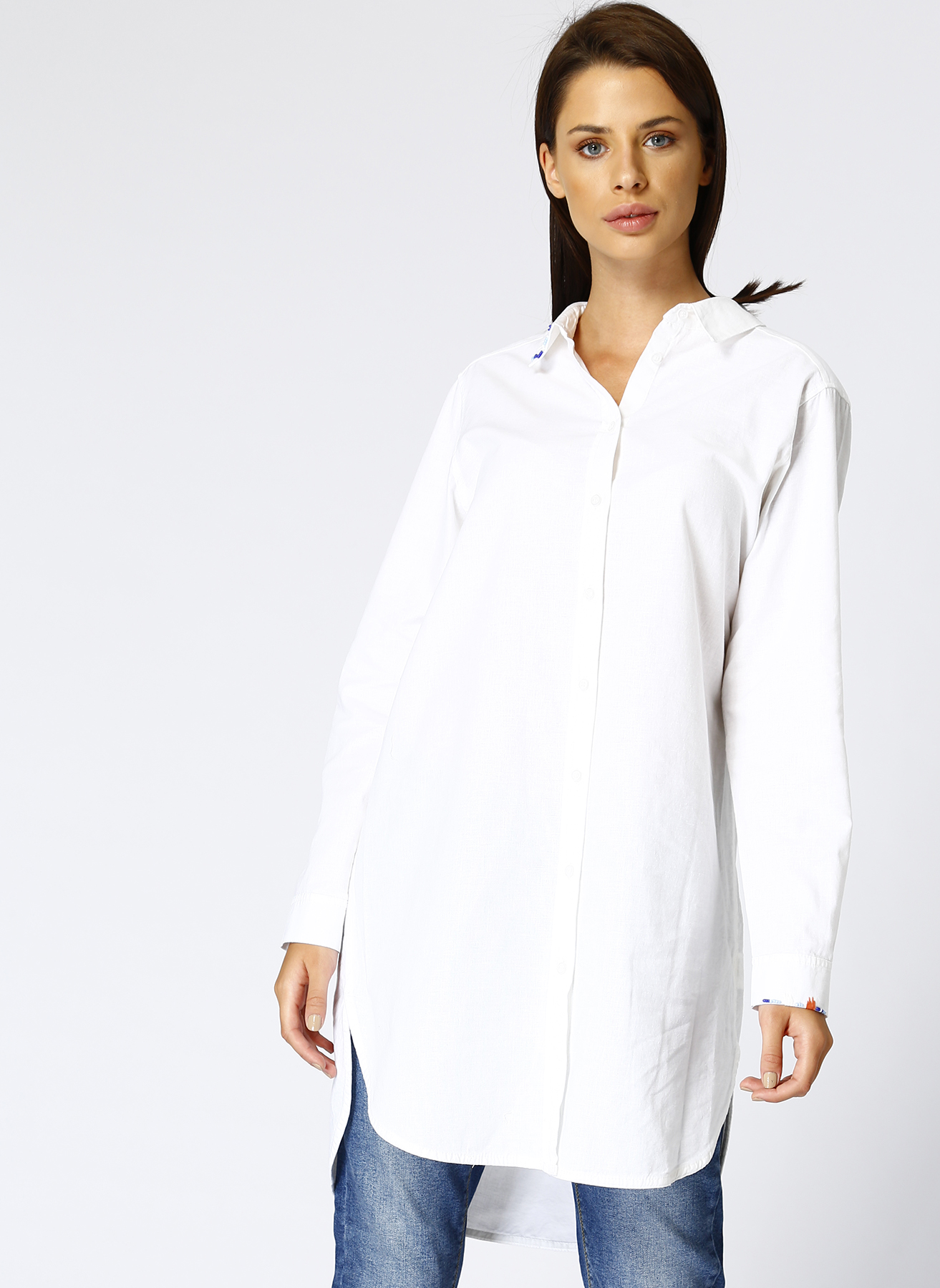 a55bb3b5617a9 XS Koyu Natürel Beymen Club Keten Boncuk İşlemeli Beyaz Gömlek  5000389182001 Kadın Giyim & Bluz