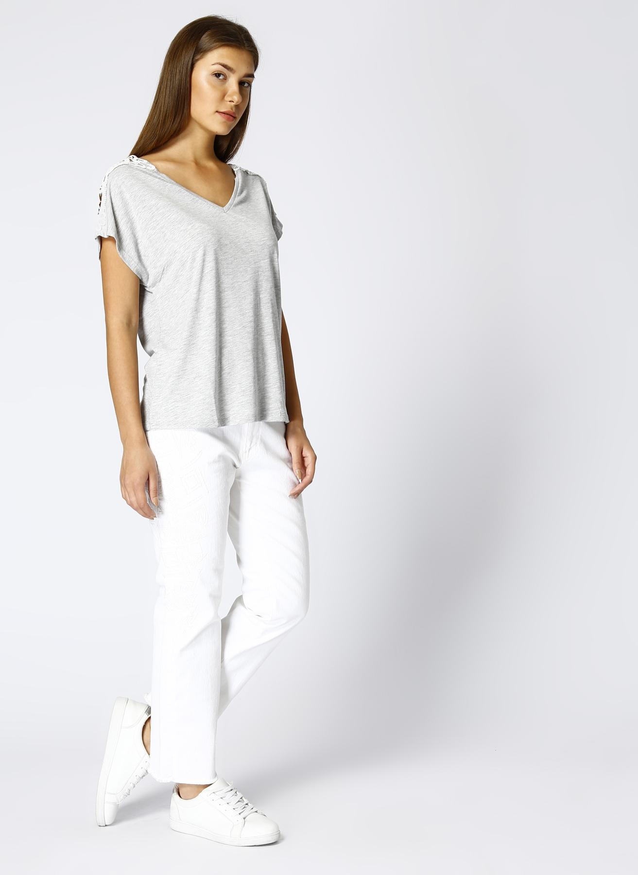 Beymen Club Nakışlı Beyaz Boyfriend Denim Pantolon 28-32 5000389198001 Ürün Resmi
