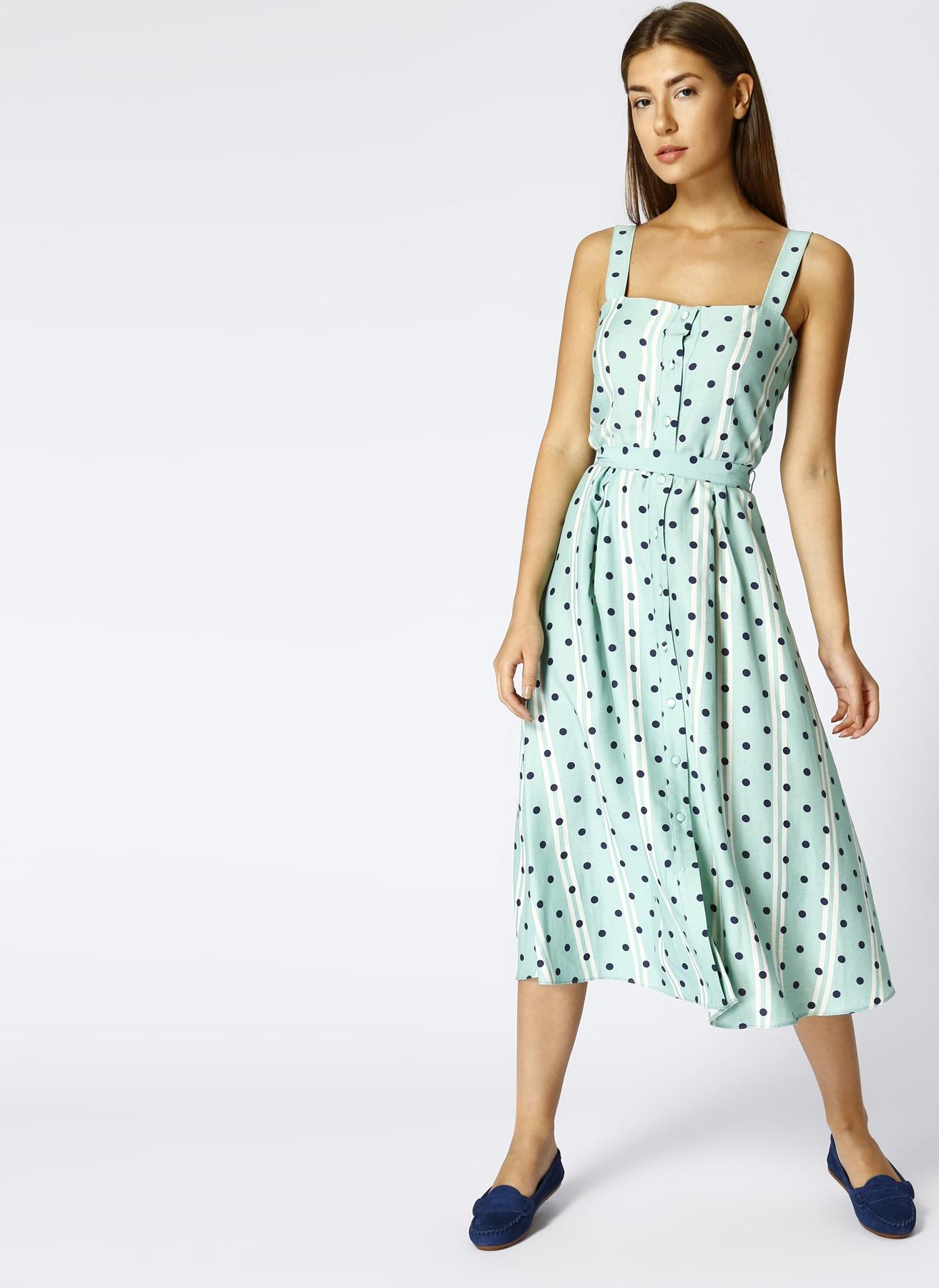 Random Puantiyeli Keten Mint Elbise 42 5000429351005