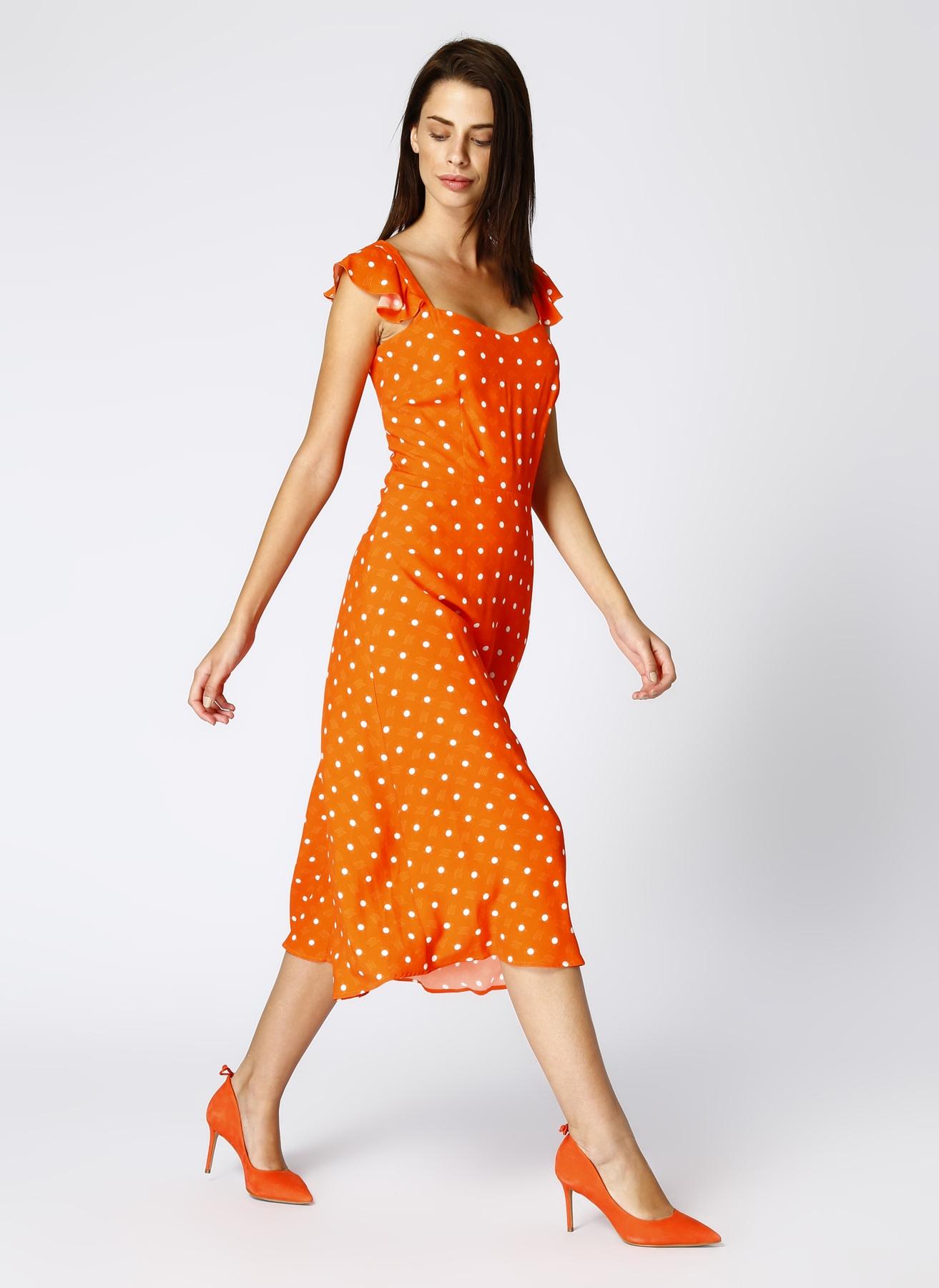 Random Puantiyeli Turuncu Elbise 34 5000429728001