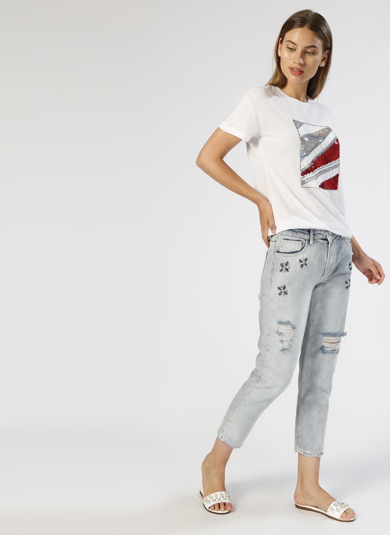 Koton Taş İşlemeli Mavi Denim Pantolon 28-32 5000430909005 Ürün Resmi