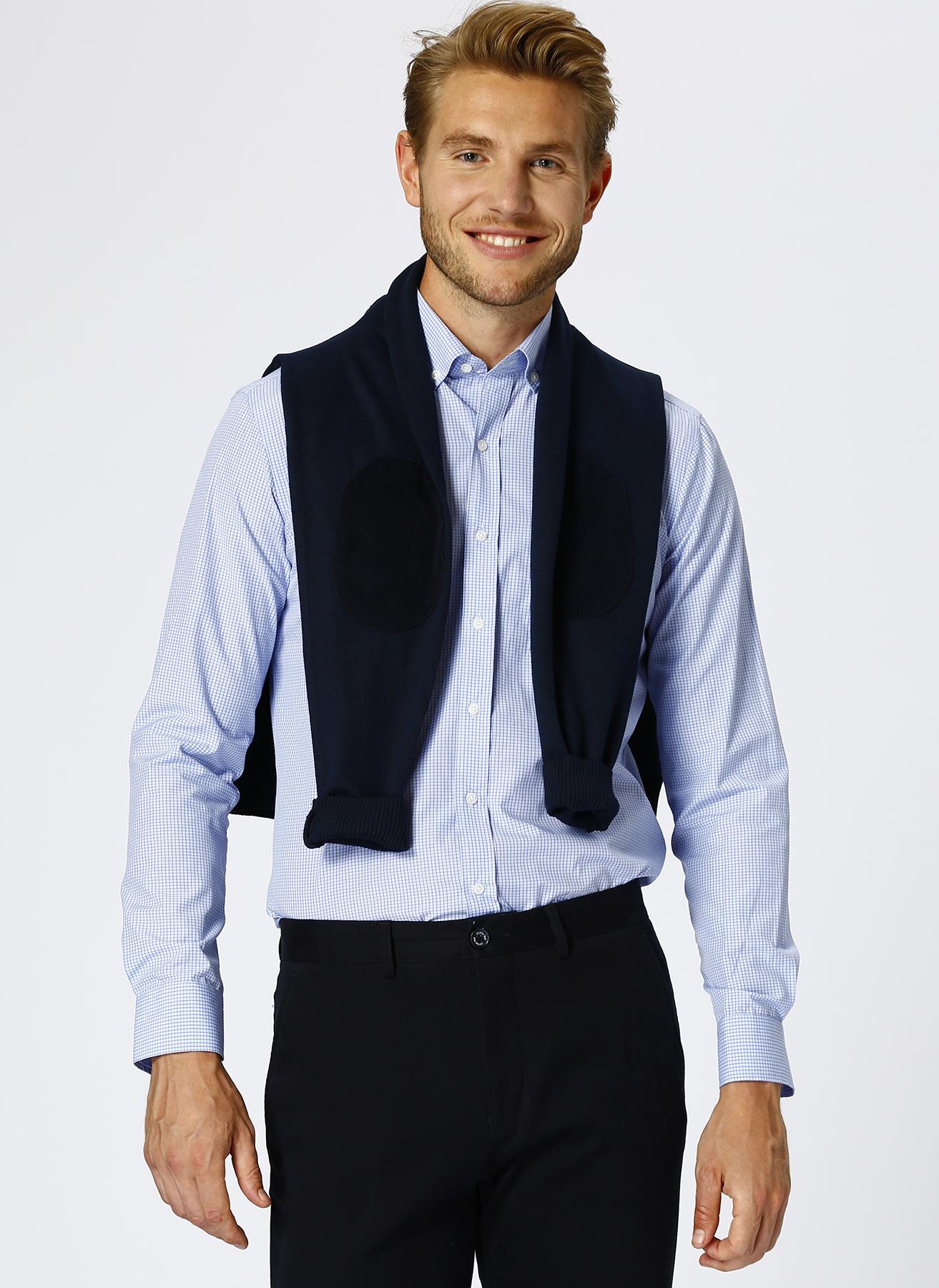 Cotton Bar Kareli Mavi Gömlek S 5001600420001 Ürün Resmi