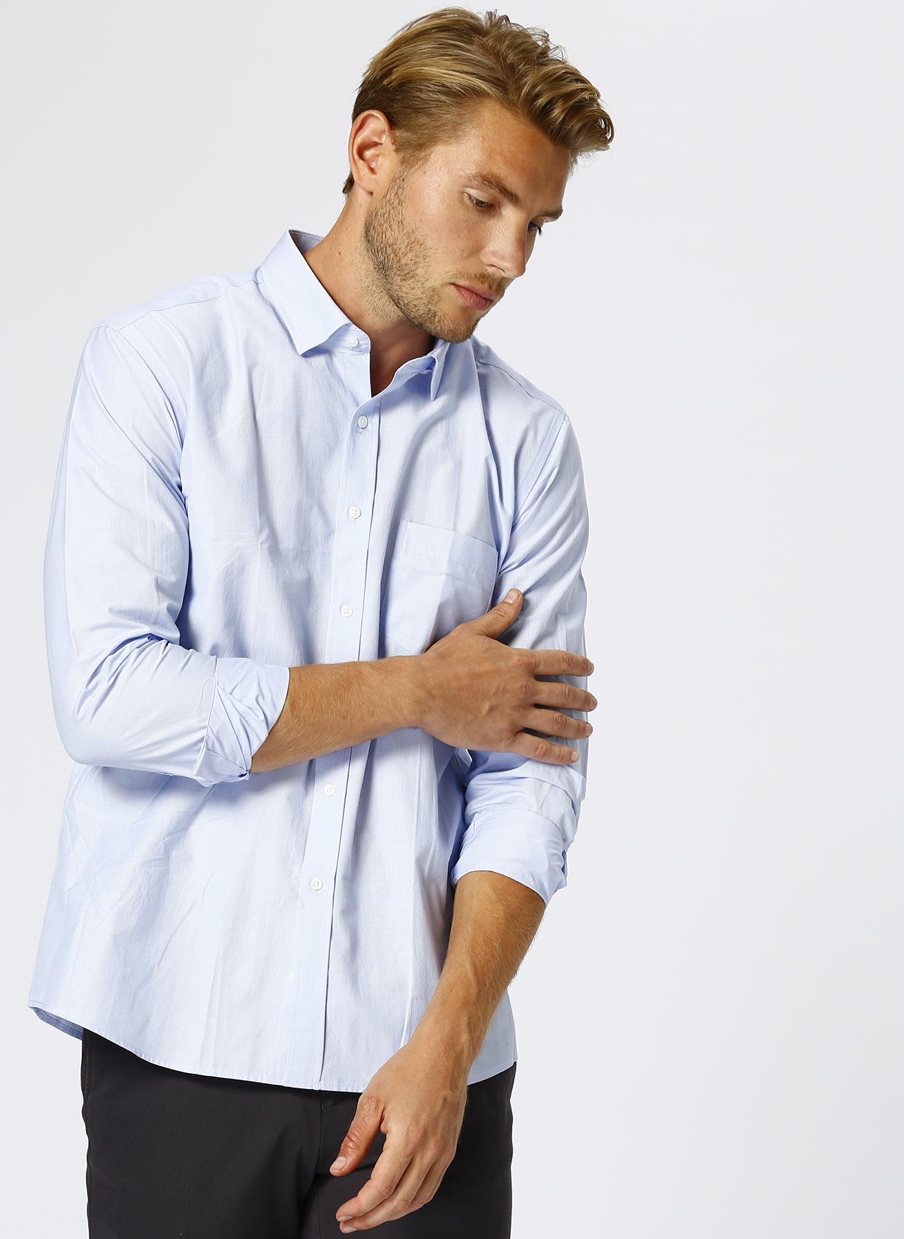 Cotton Bar Regular Fit Mavi Gömlek M 5001600424002 Ürün Resmi