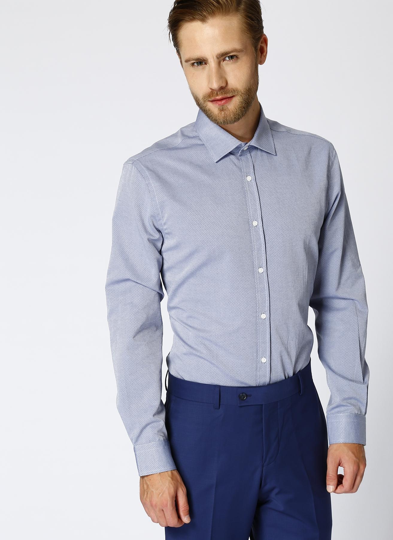 Cotton Bar Desenli Lacivert Gömlek S 5001605879001 Ürün Resmi
