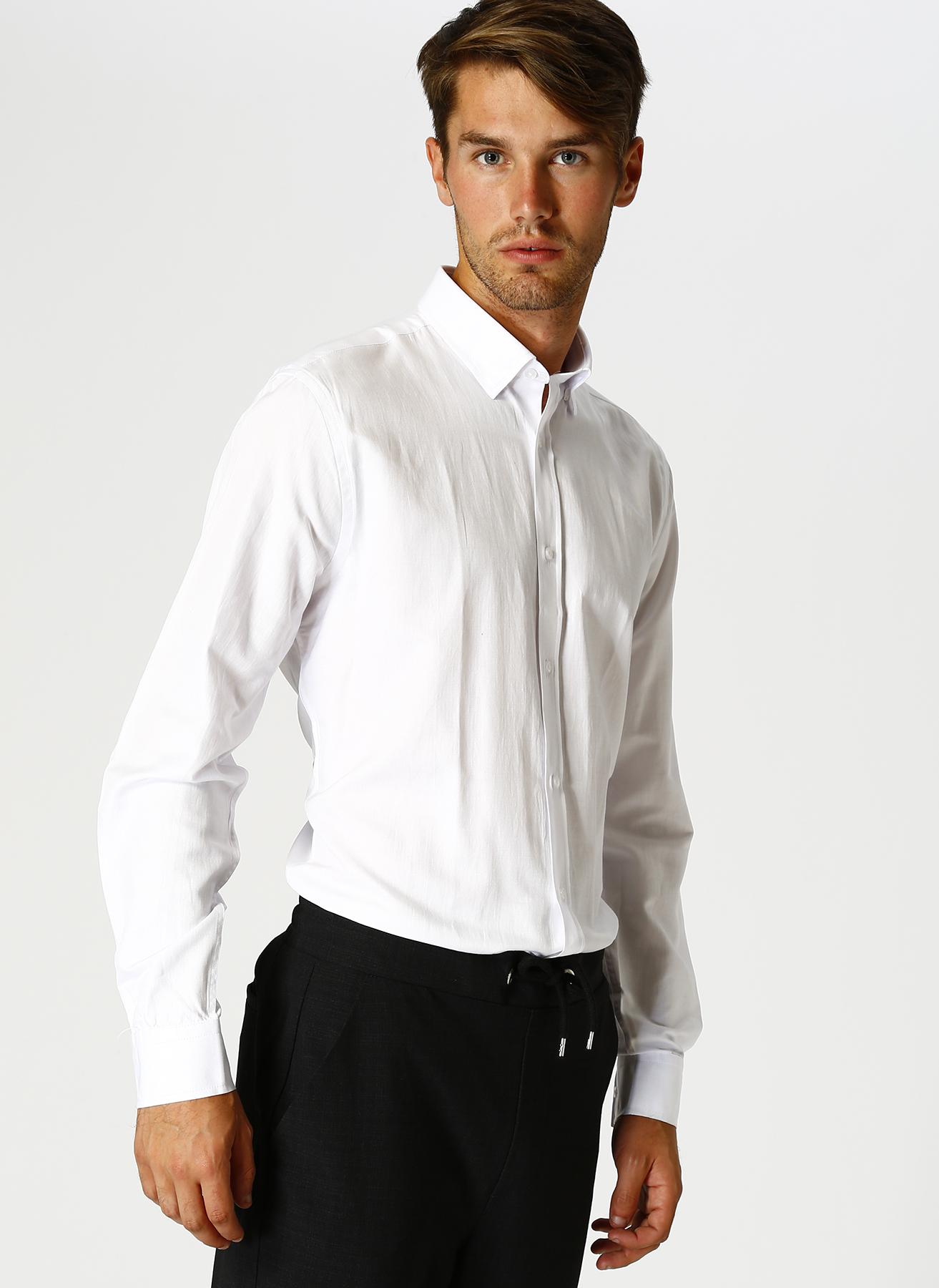 Cotton Bar Erkek Beyaz Gömlek S 5001627714001