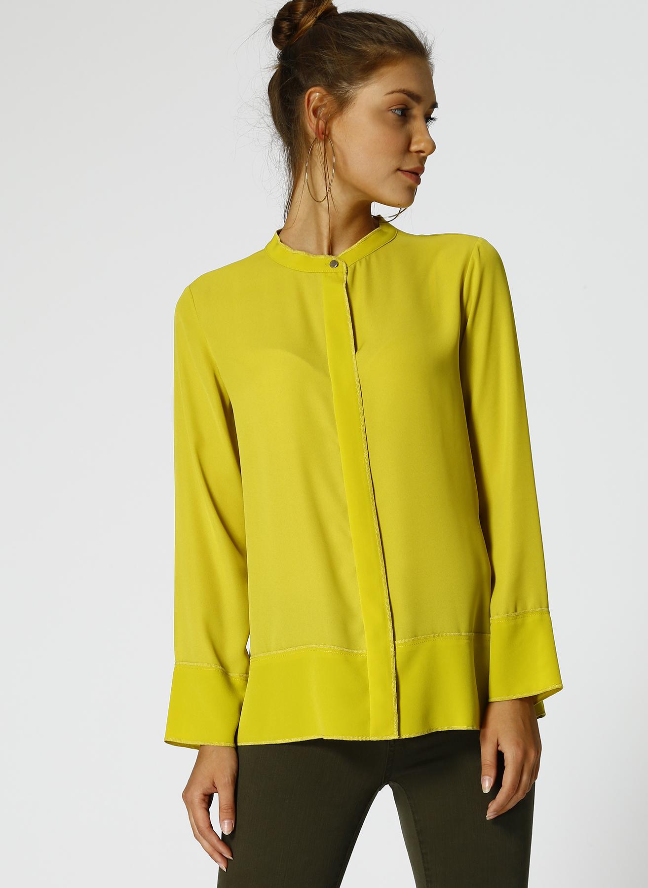 9fff45001e4c3 42 Sarı Fabrika Kadın Hakim Yaka Gömlek 5001628177004 Giyim & Bluz