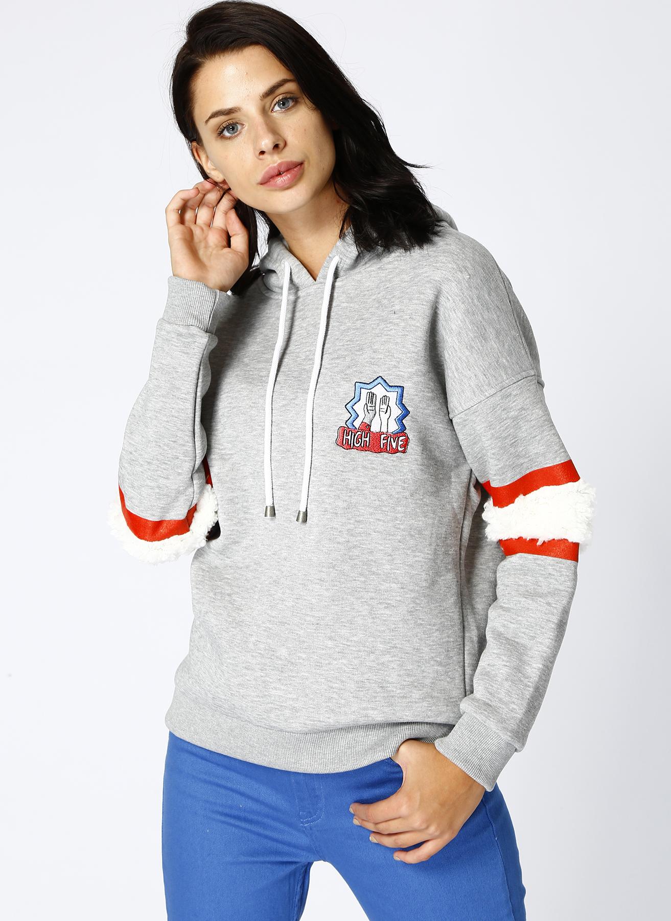 T-Box Gri Melanj Sweatshirt M 5001629965003 Ürün Resmi
