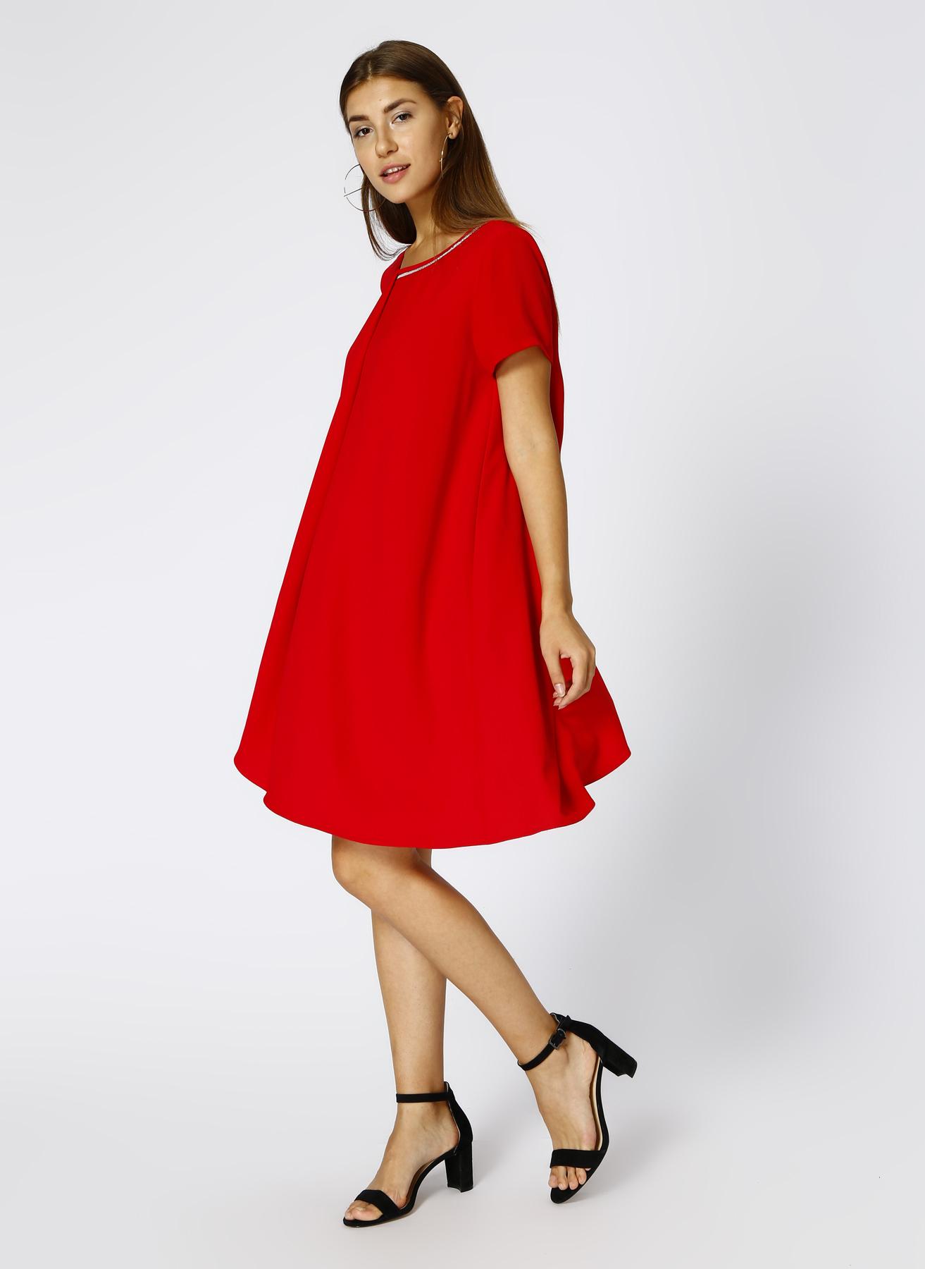 House Of Camellia Kırmızı Elbise 46 5001631809006 Ürün Resmi
