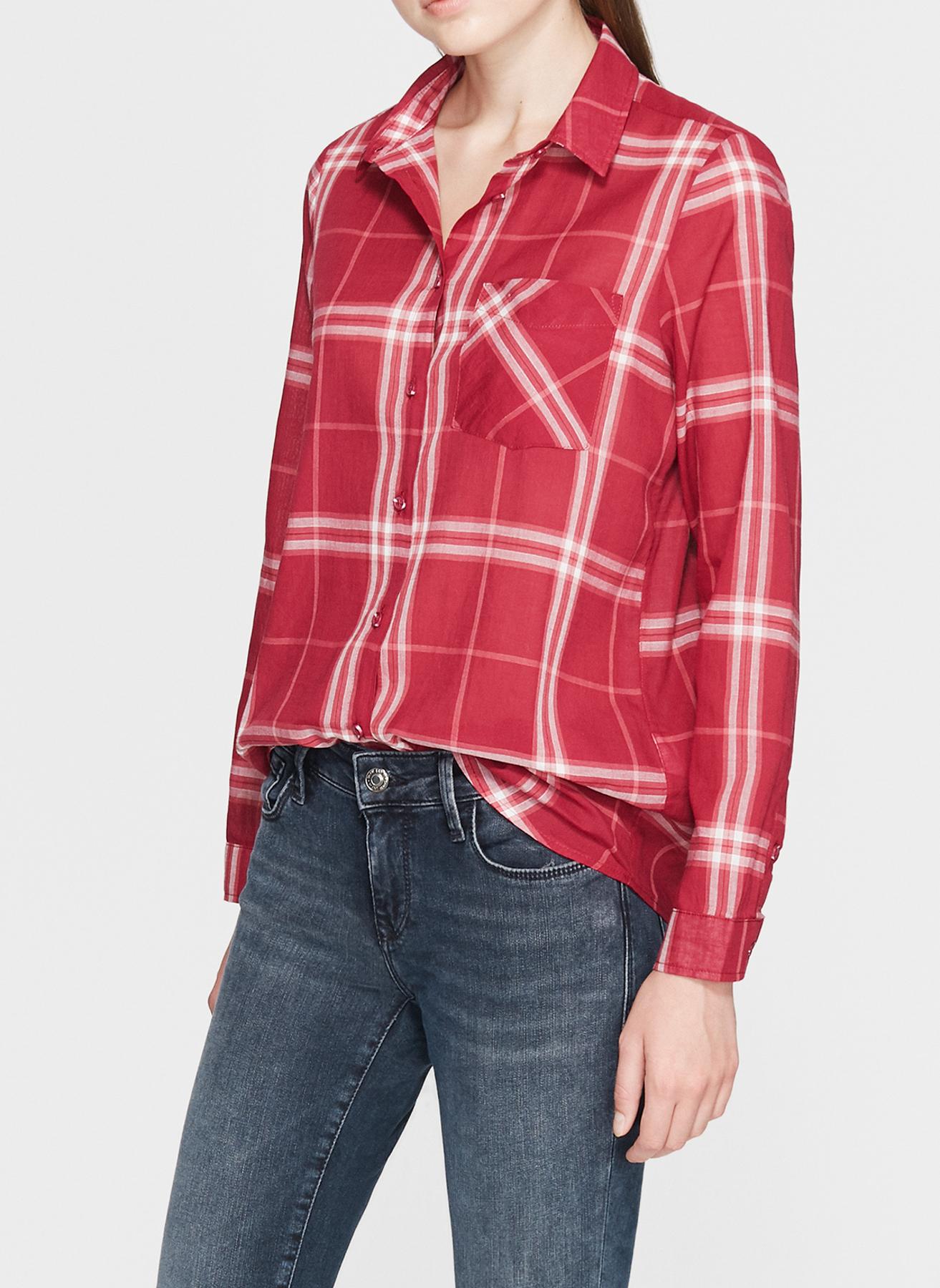 Mavi Ekoseli Kırmızı Gömlek L 5001634115004 Ürün Resmi