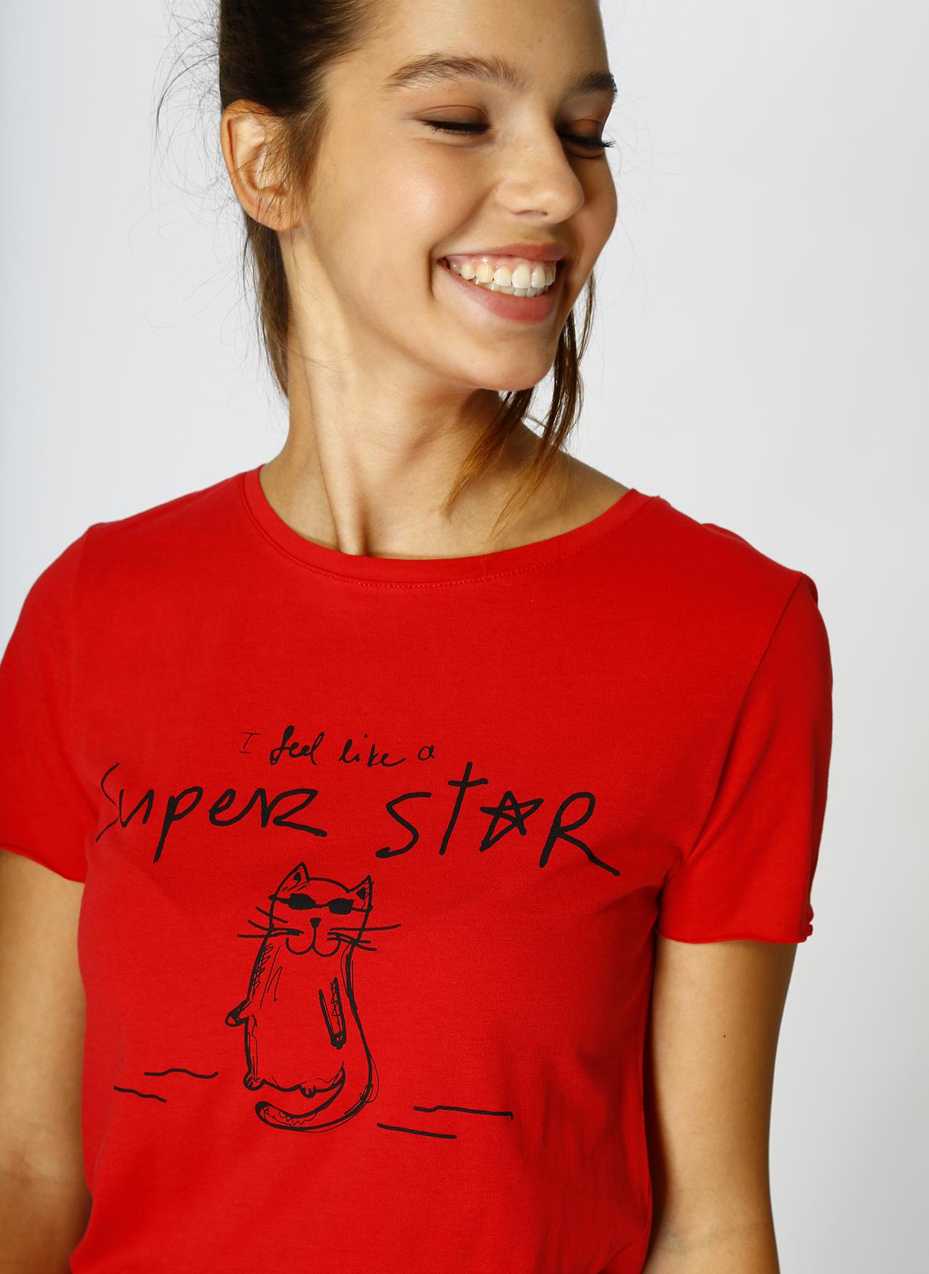 Mavi Super Star Baskılı Kırmızı T-Shirt L 5001634153004 Ürün Resmi