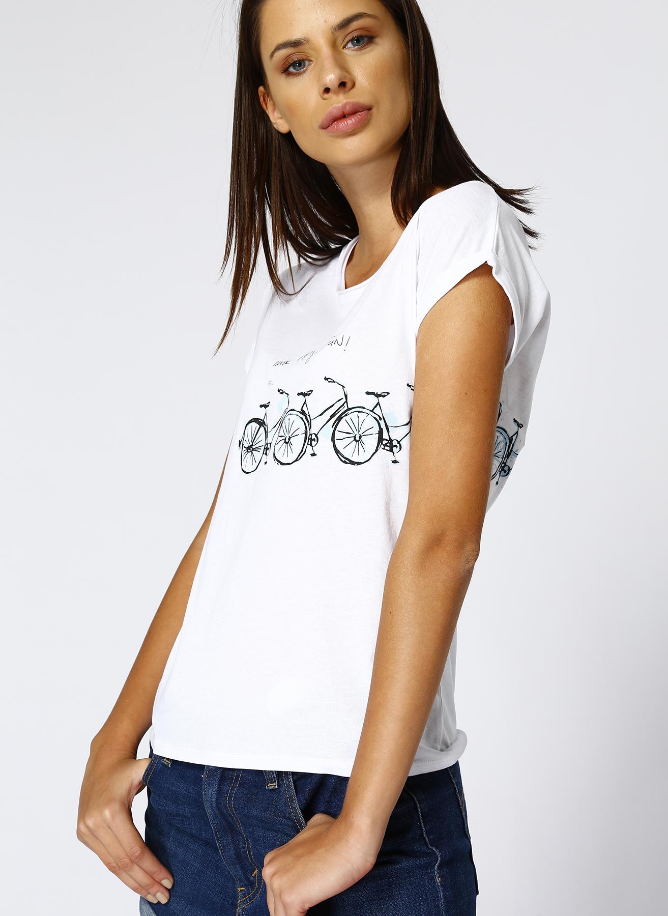 Mavi Bisiklet Baskılı Beyaz T-Shırt M 5001634157003 Ürün Resmi
