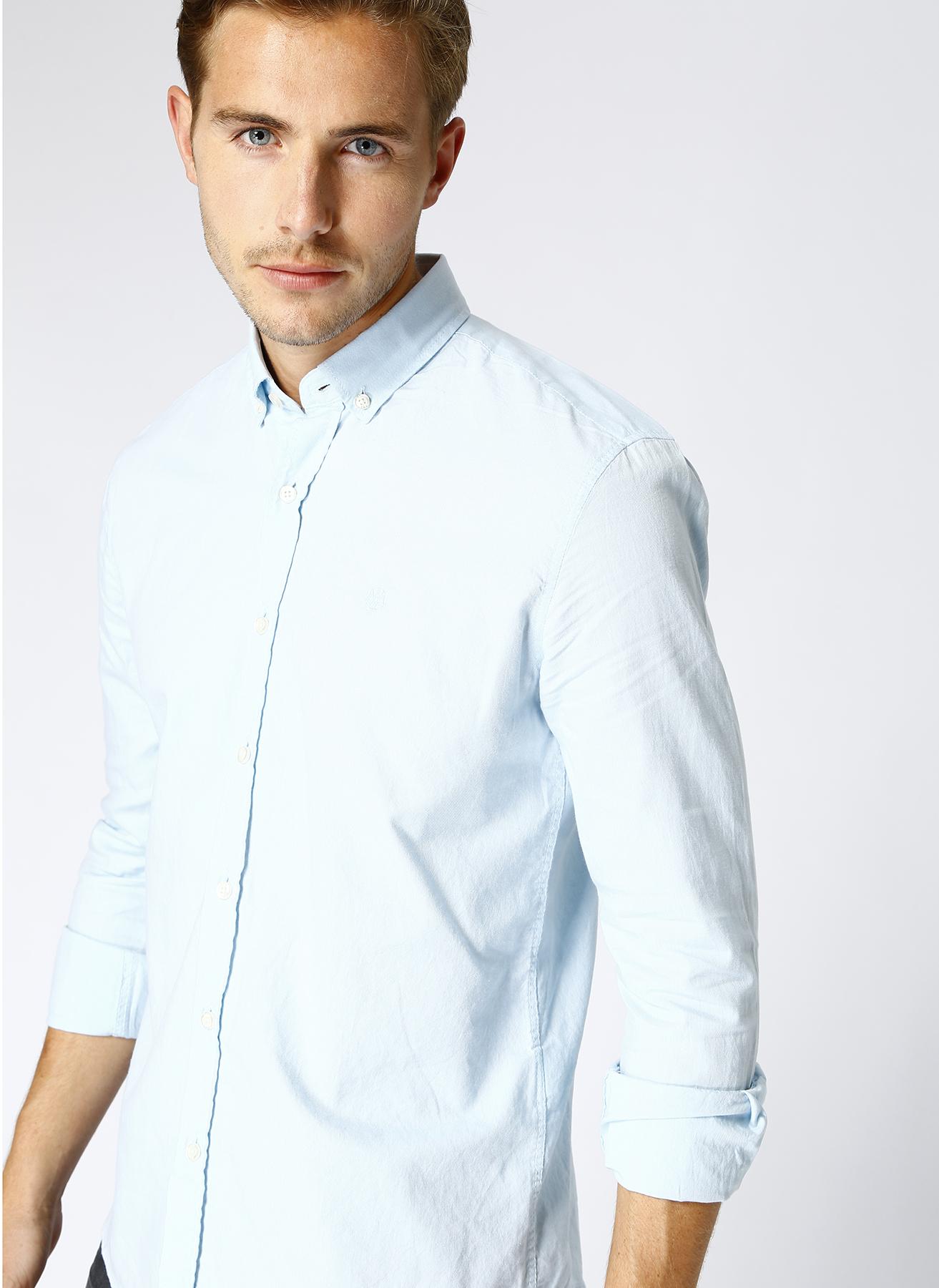 Mavi Düğmeli Yaka Gömlek 2XL 5001634380006 Ürün Resmi
