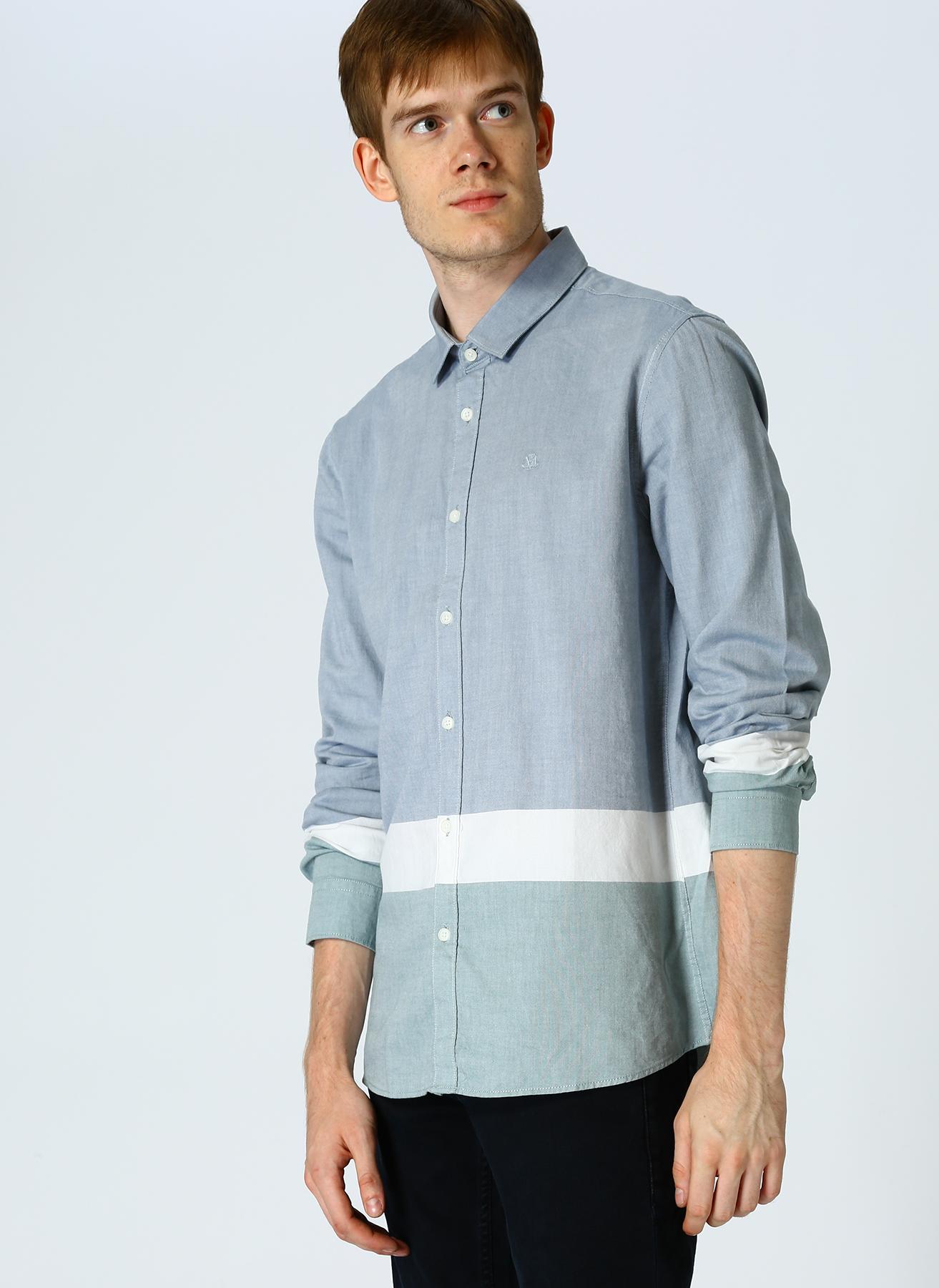 Mavi Çizgili Açık Mavi Gömlek XS 5001634402005 Ürün Resmi