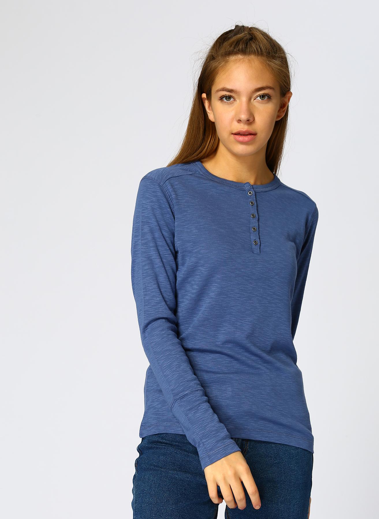 Mustang Düğmeli Yaka Mavi T-Shirt S 5001697665003 Ürün Resmi