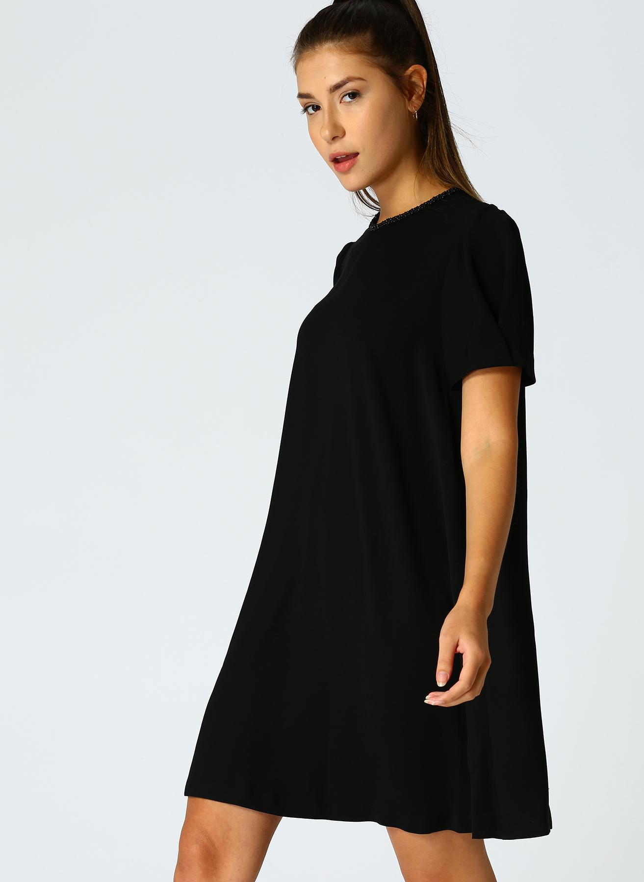 Beymen Studio İşlemeli Yaka Siyah Elbise 38 5001698776002 Ürün Resmi