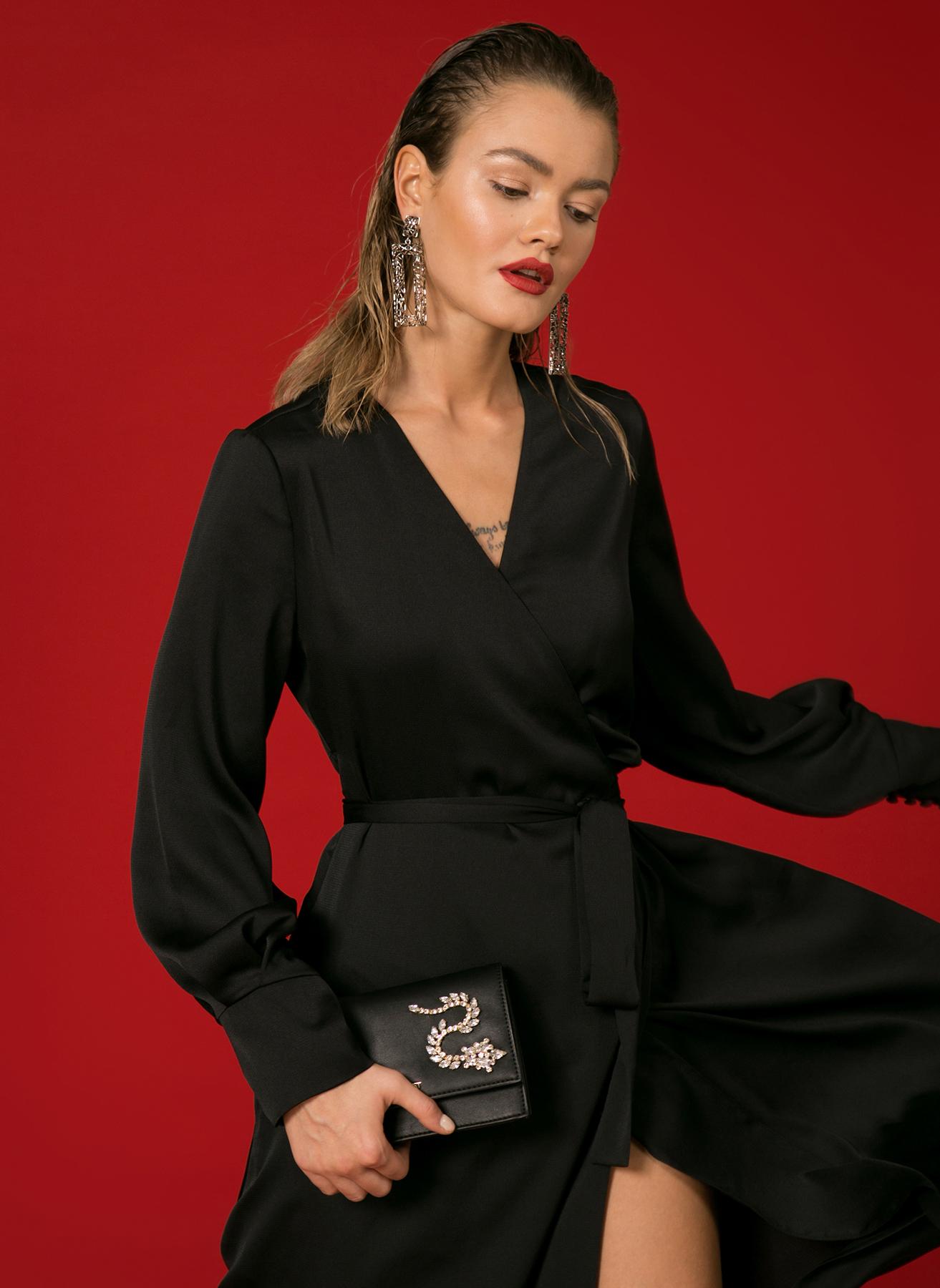9f5e55ad003db 40 Siyah Beymen Studio Kruvaze V Yaka Elbise 5001698993003 Kadın Giyim