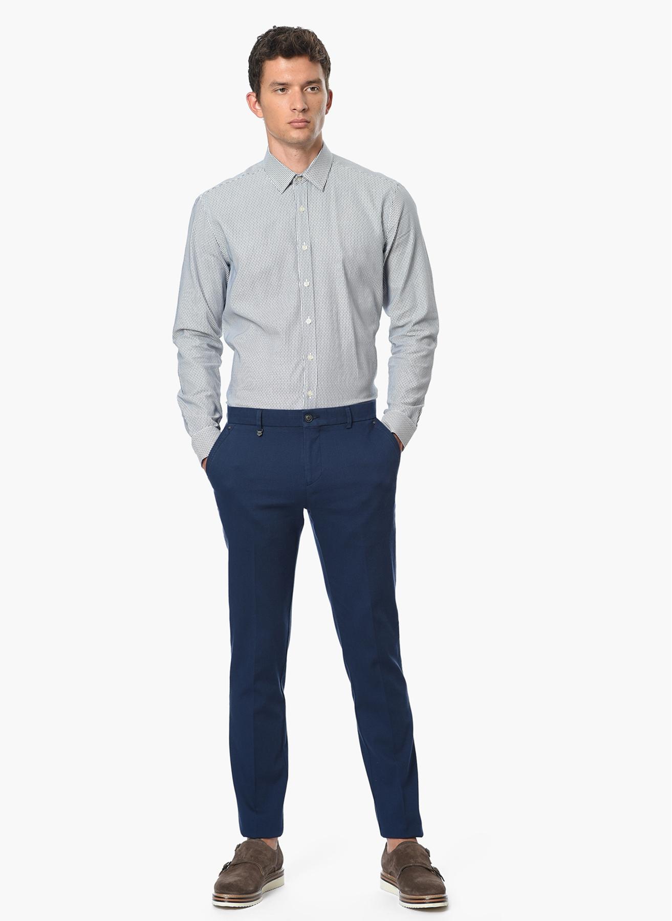 George Hogg Çizgili Lacivert - Beyaz Gömlek 39 5001699218001 Ürün Resmi