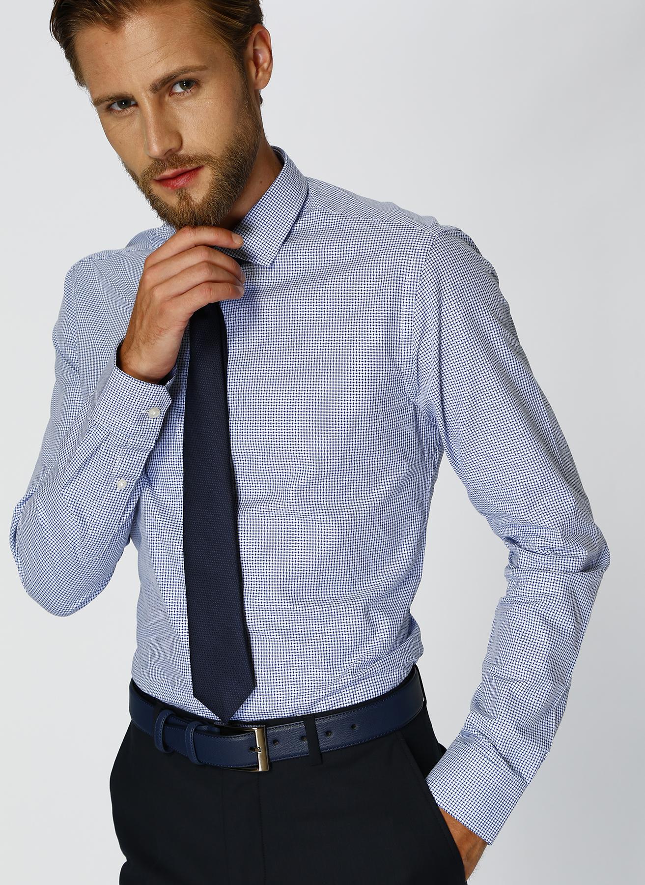 George Hogg Desenli Mavi - Beyaz Gömlek 42 5001699220004 Ürün Resmi