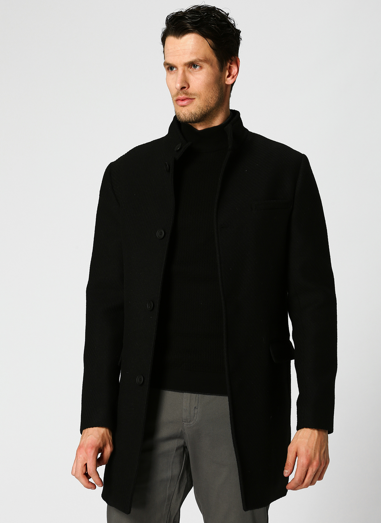 George Hogg Hakim Yaka Çizgili Siyah Palto 48 5001699412002 Ürün Resmi